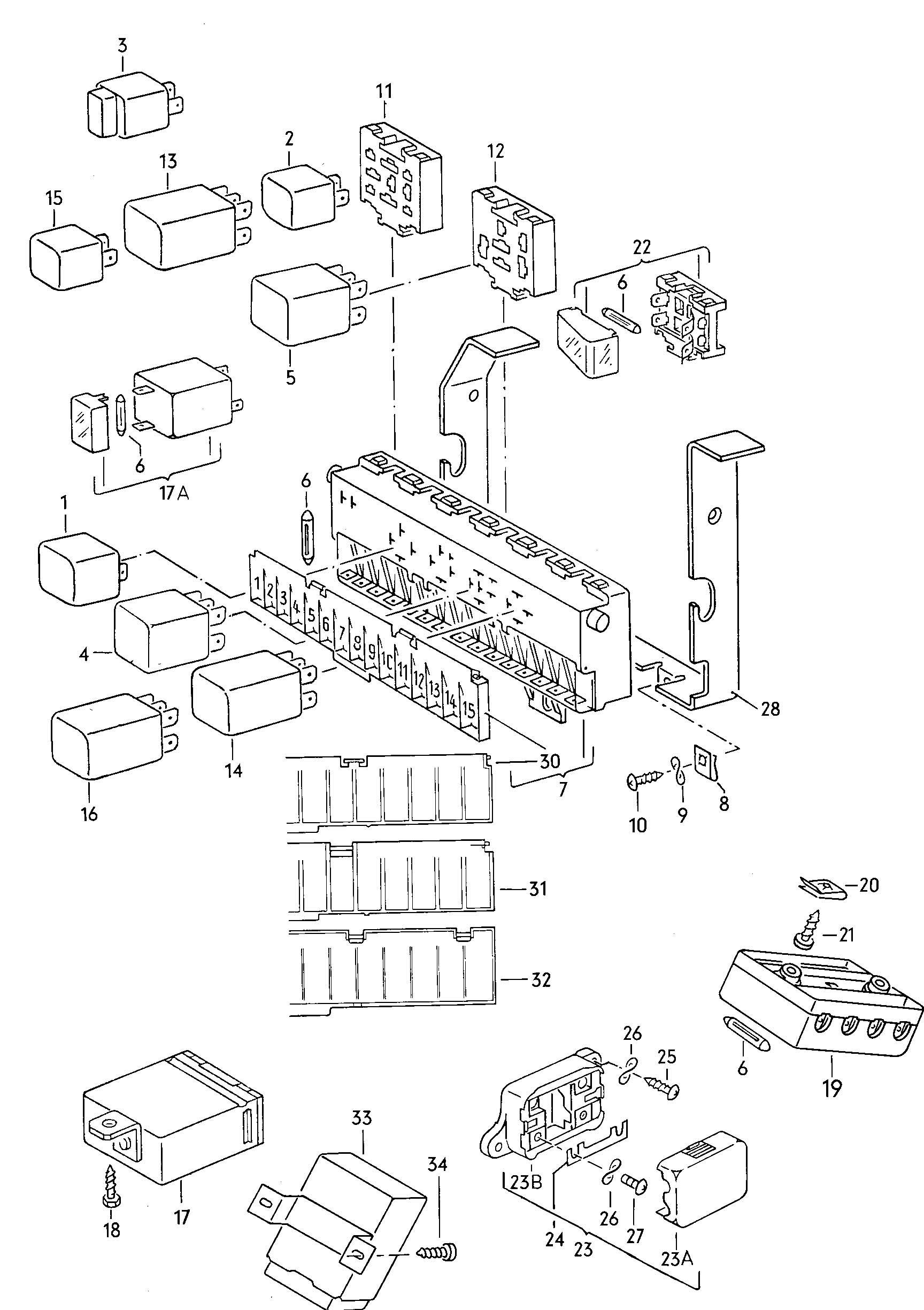 1992 Volkswagen Jetta Fuse box/relay plate relay fuse box