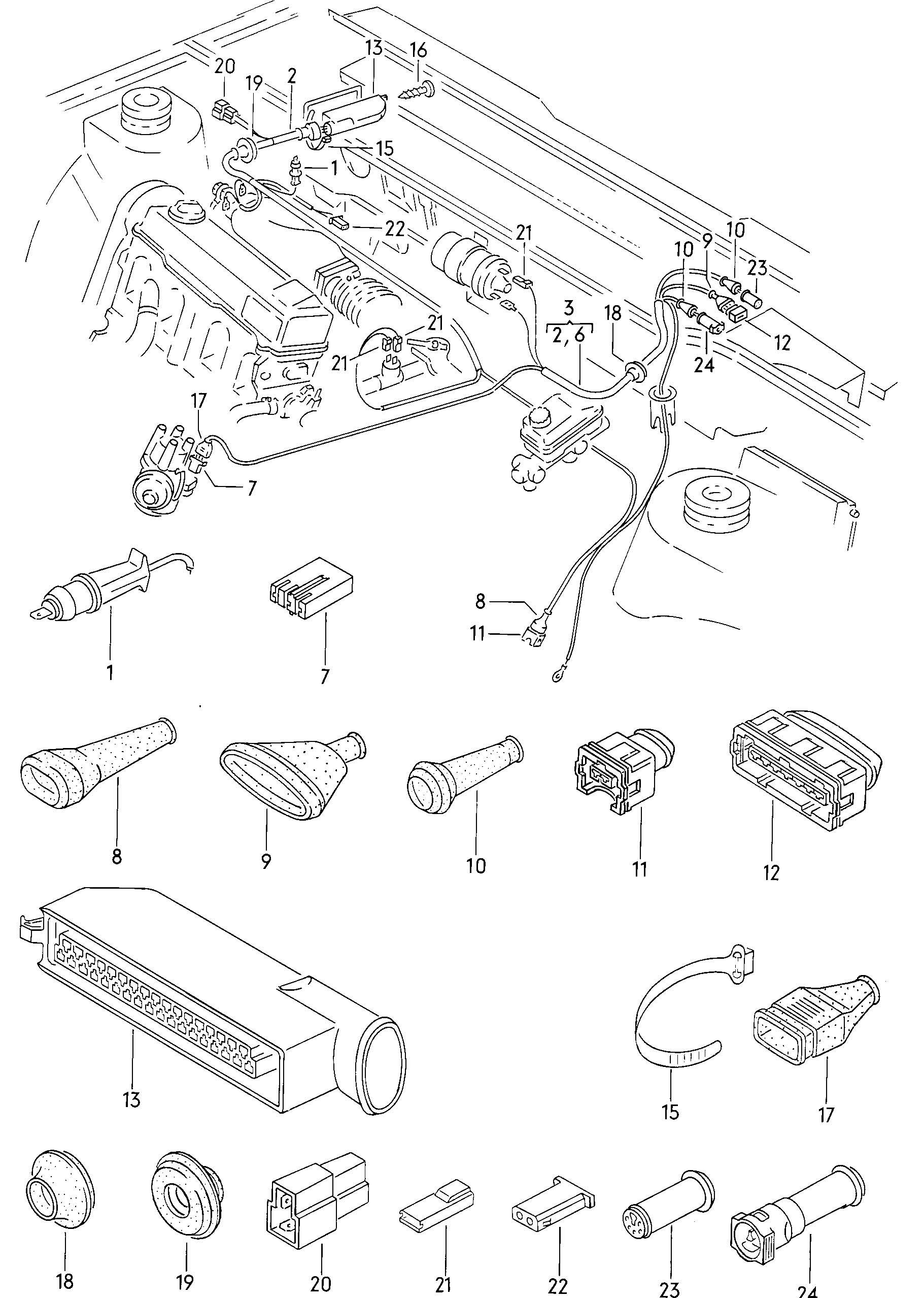 Volkswagen Cabrio/Cabriolet Grommet. Transistorized