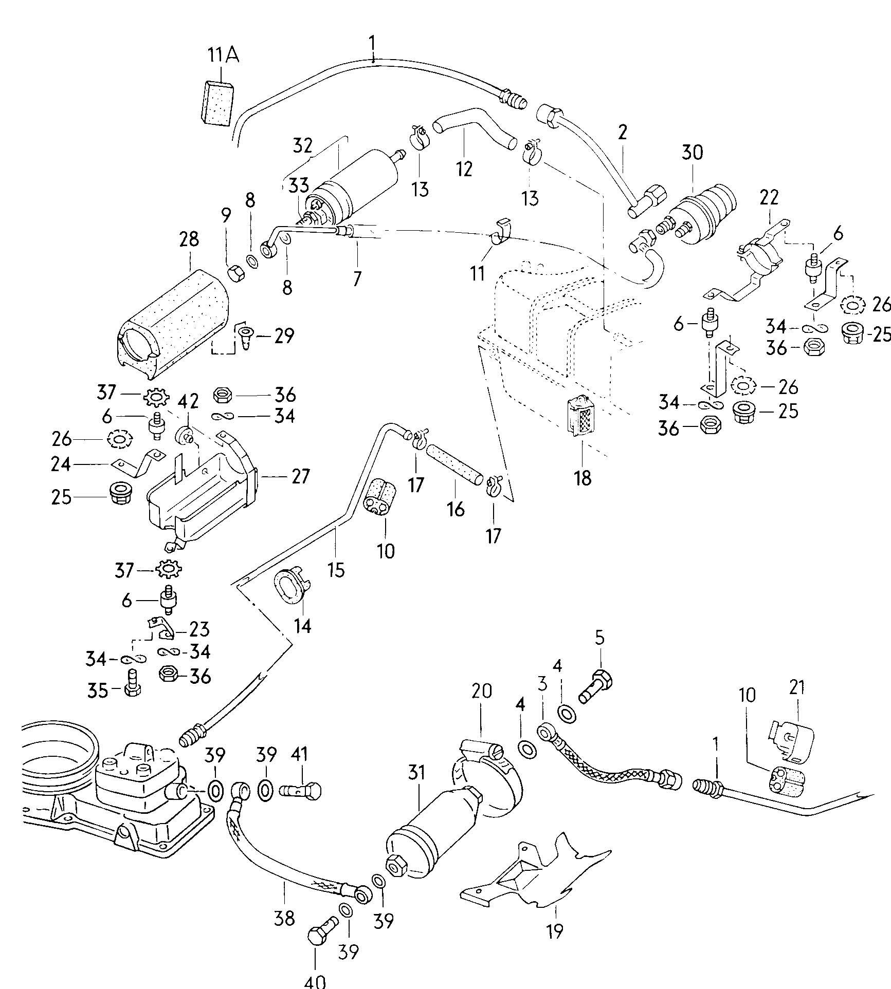 1982 Volkswagen Jetta Accumulator fuel filter fuel pump