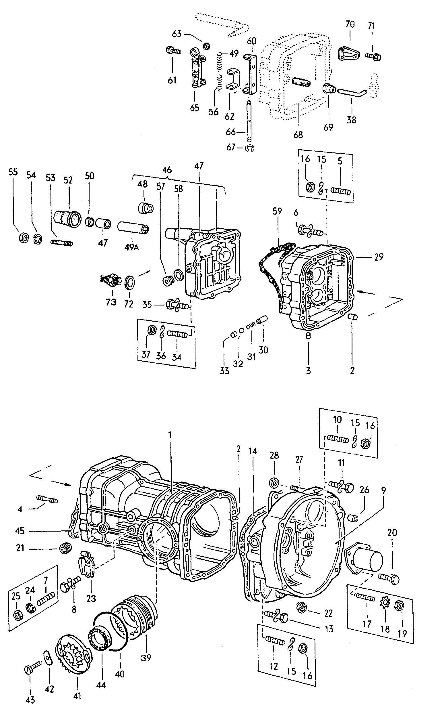 1973 Volkswagen Type 2 Transmission case 4 speed manual