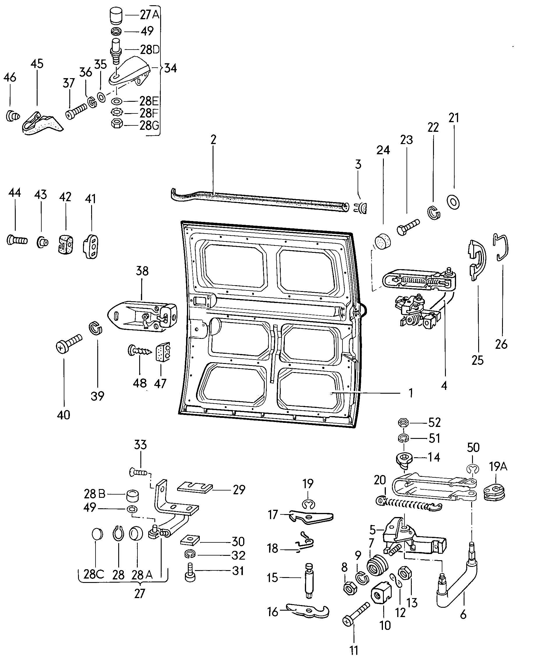 Sliding Door Parts Diagrams For Volkswagen Type 2