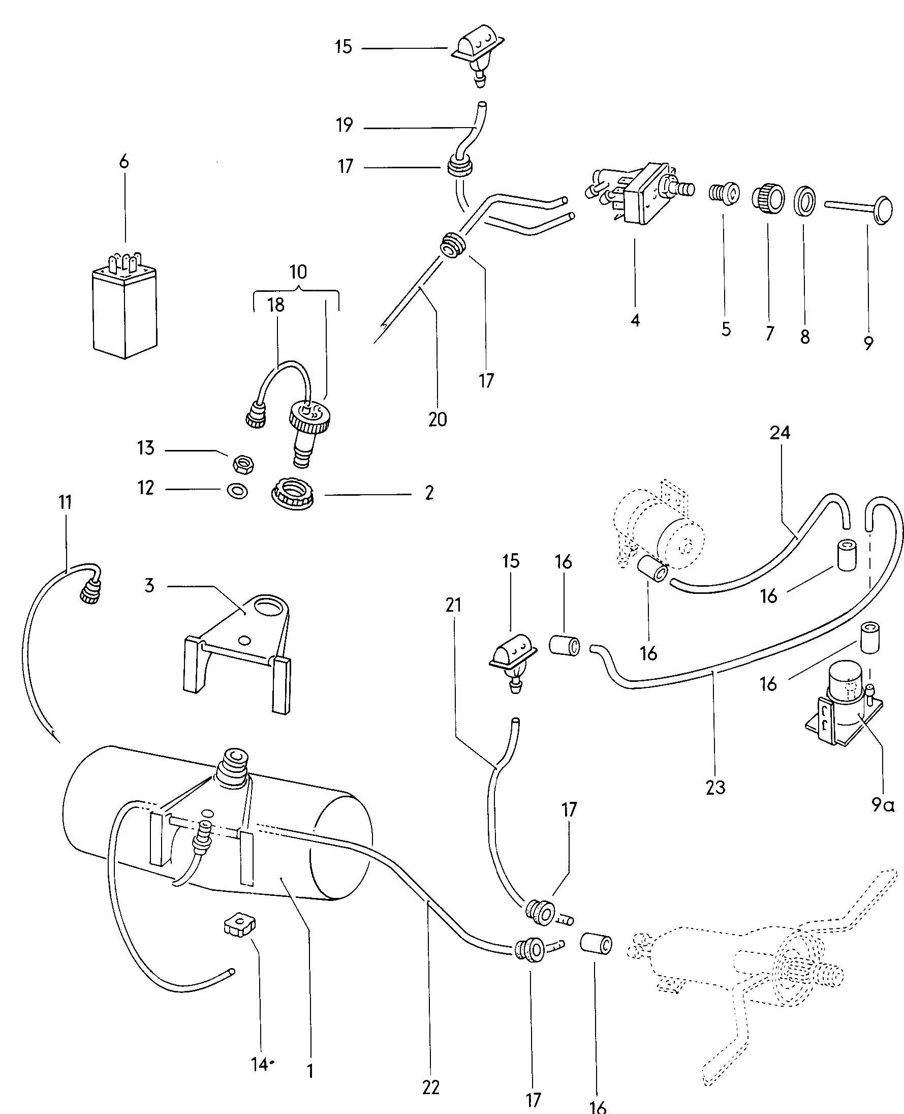 Volkswagen (VW) Type 3 Windshield washer unit