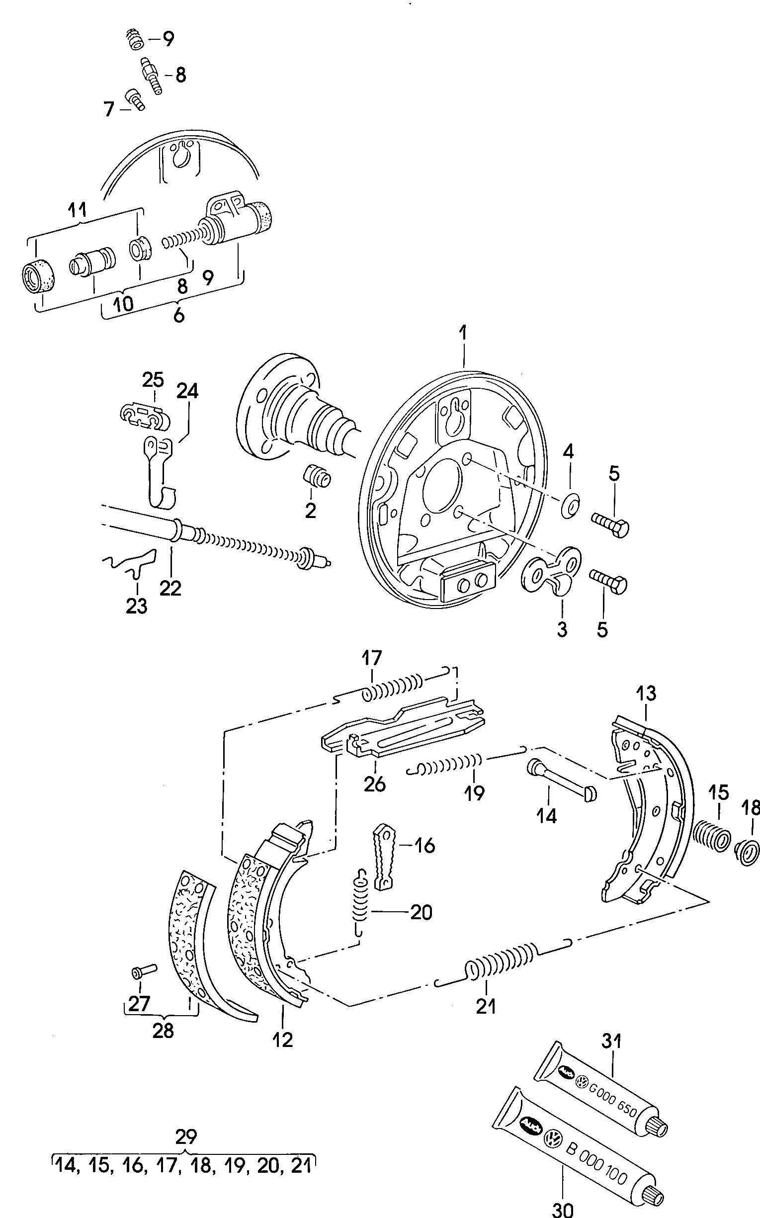 1990 Volkswagen Golf Drum brakes back plate wheel brake