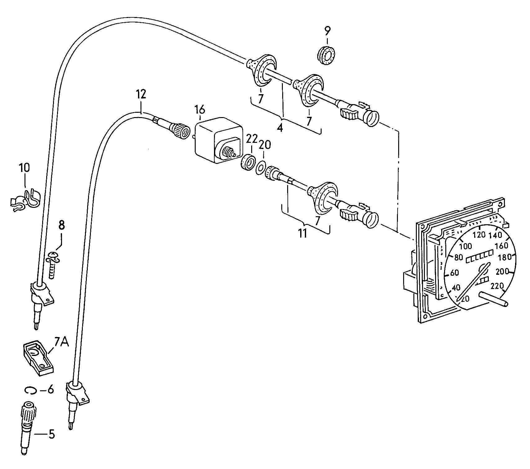 Napęd-zębatka linki licznika (prędkościomierza) Seat