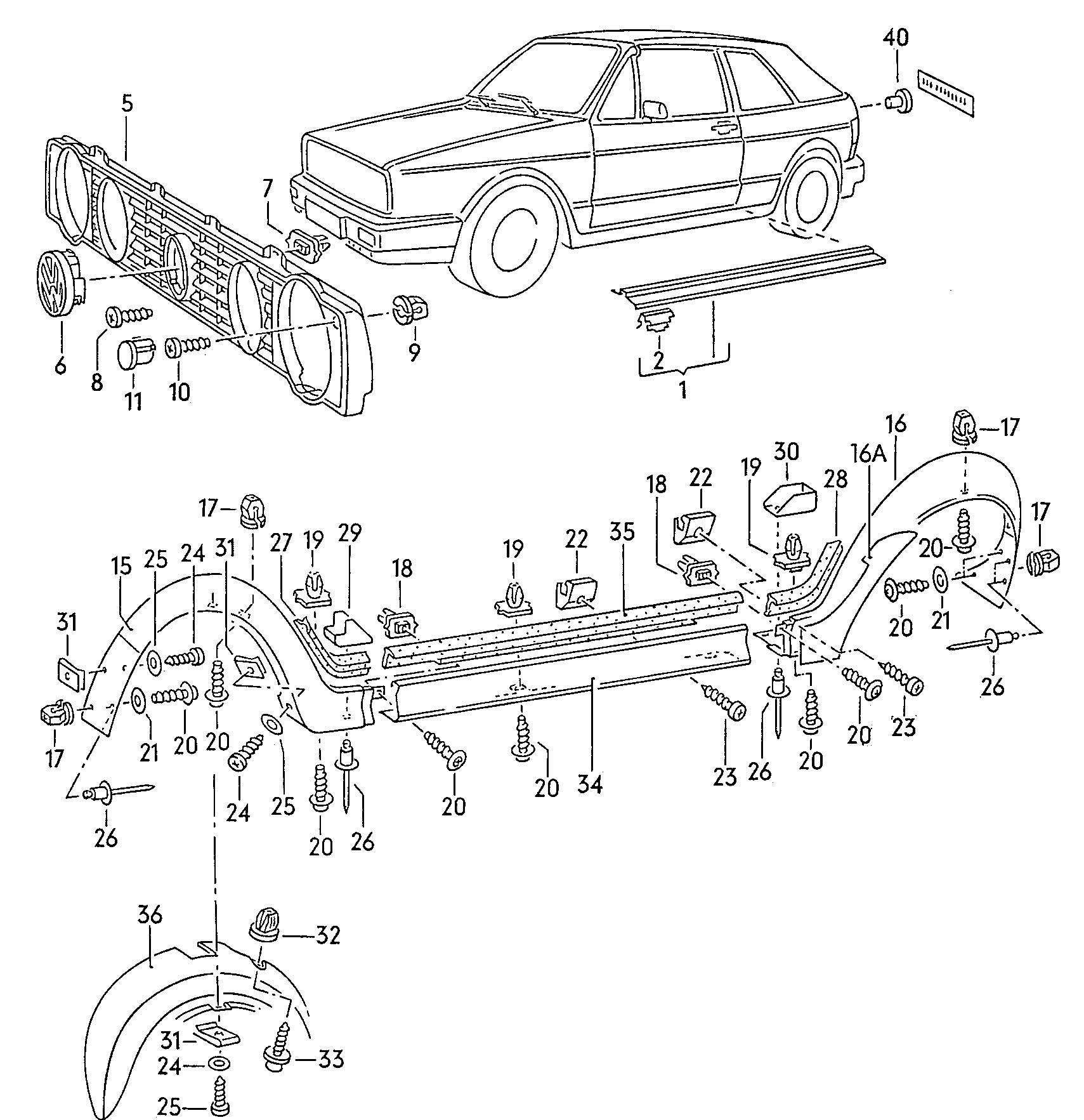 Volkswagen Cabrio/Cabriolet 1.8L K-Jetronic Radiator