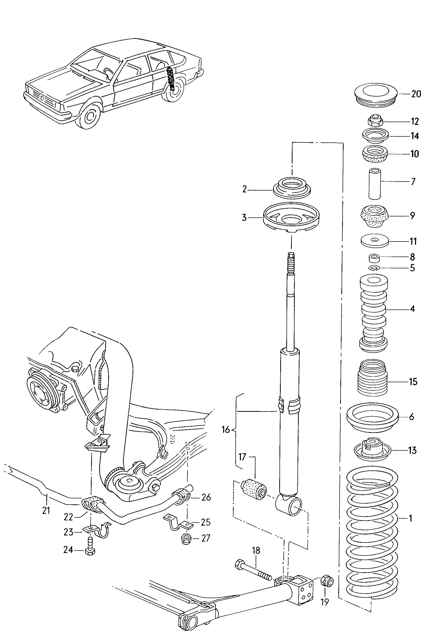 1985 Volkswagen Quantum Suspension stabilizer shock