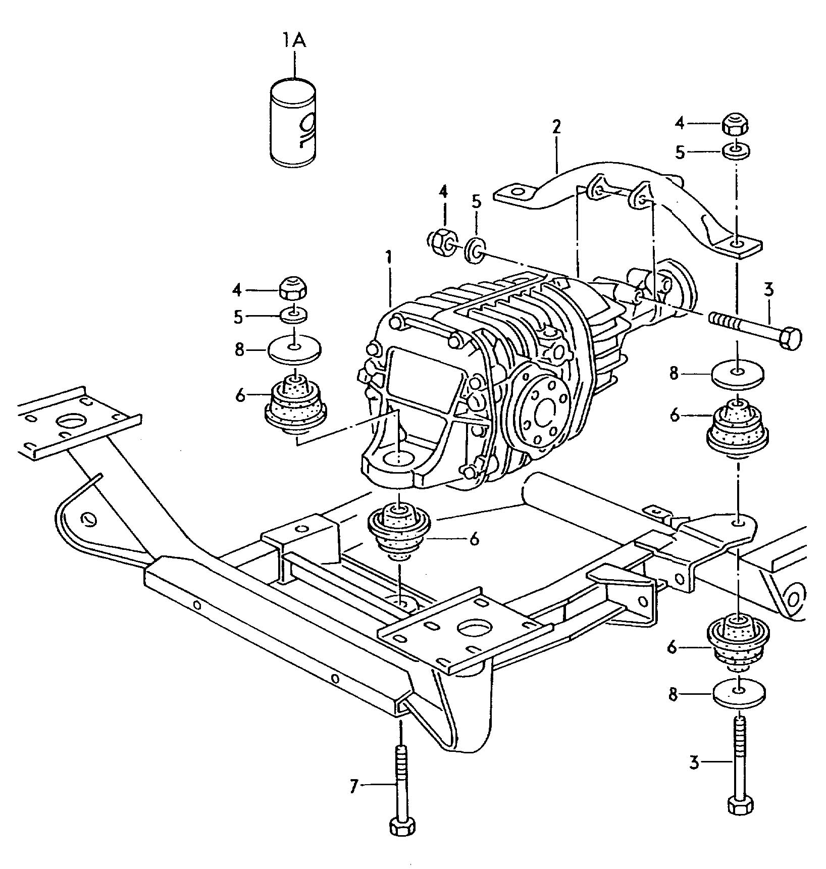 Mounting parts for front axle differential front axle