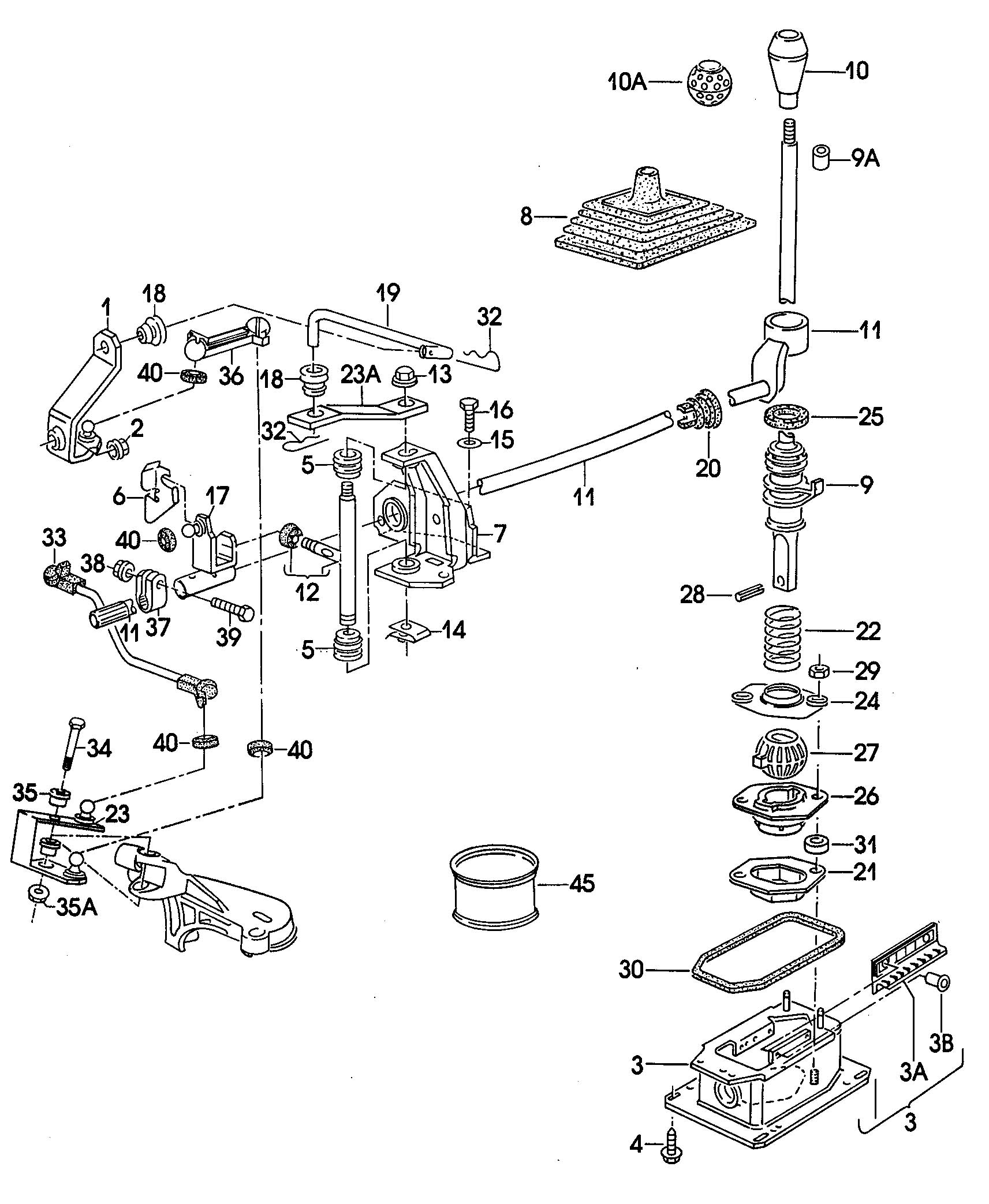 Volkswagen (VW) Shift mechanism for manual transmission engine