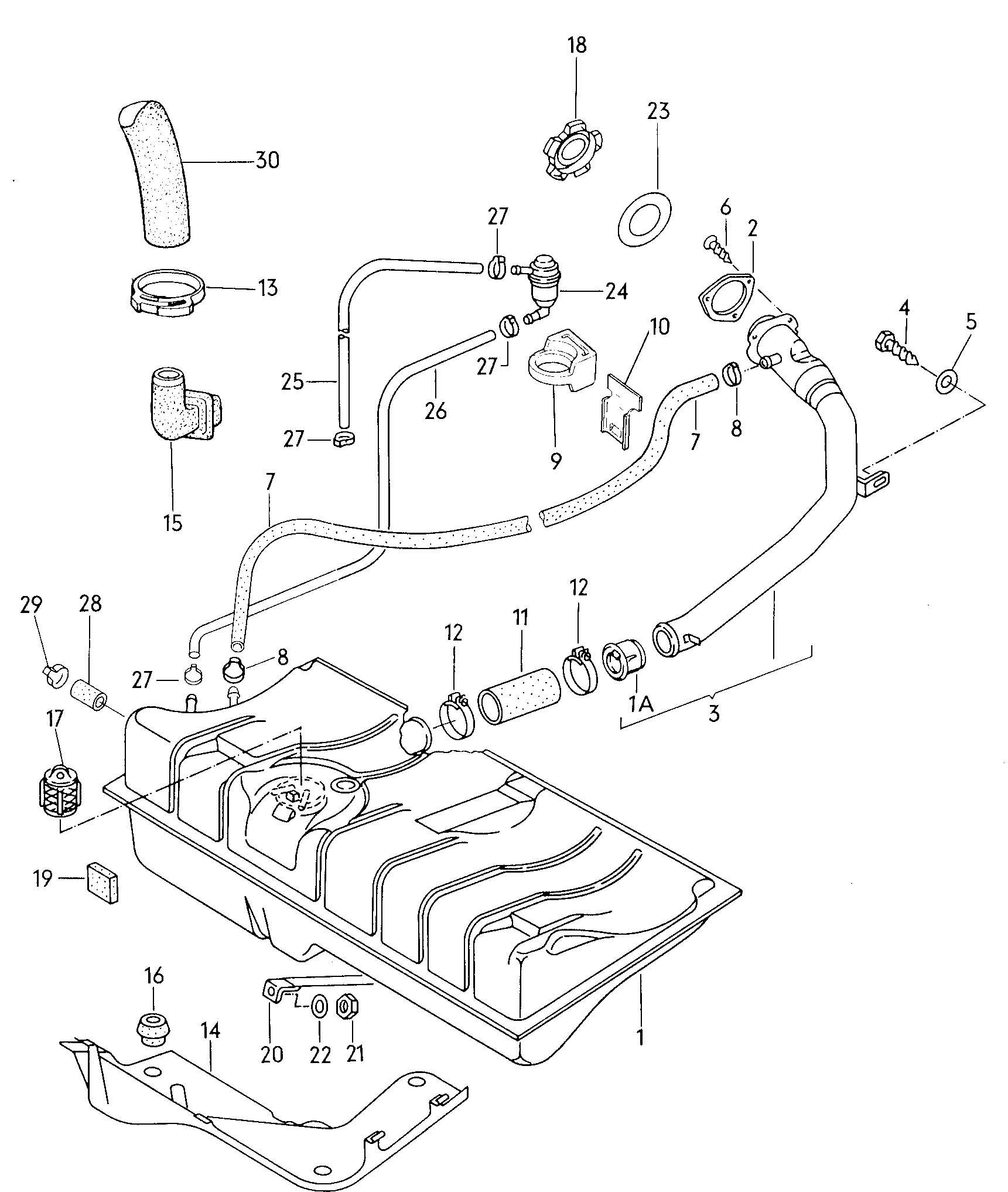 1981 Volkswagen PickUp Fuel tank gravity valve vent hose