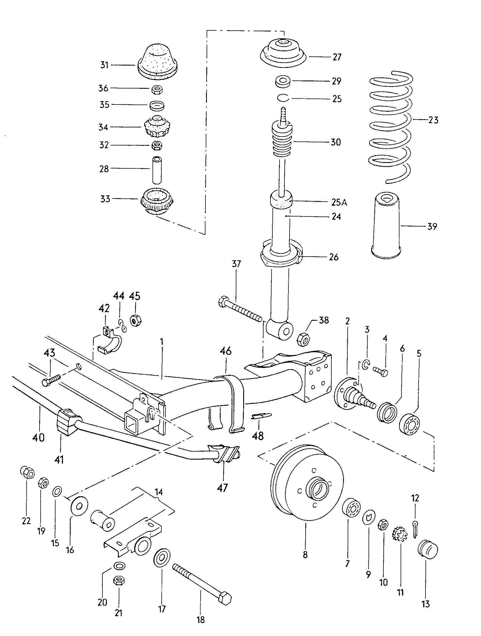 Volkswagen Rabbit Rear axle beam with attachment shock