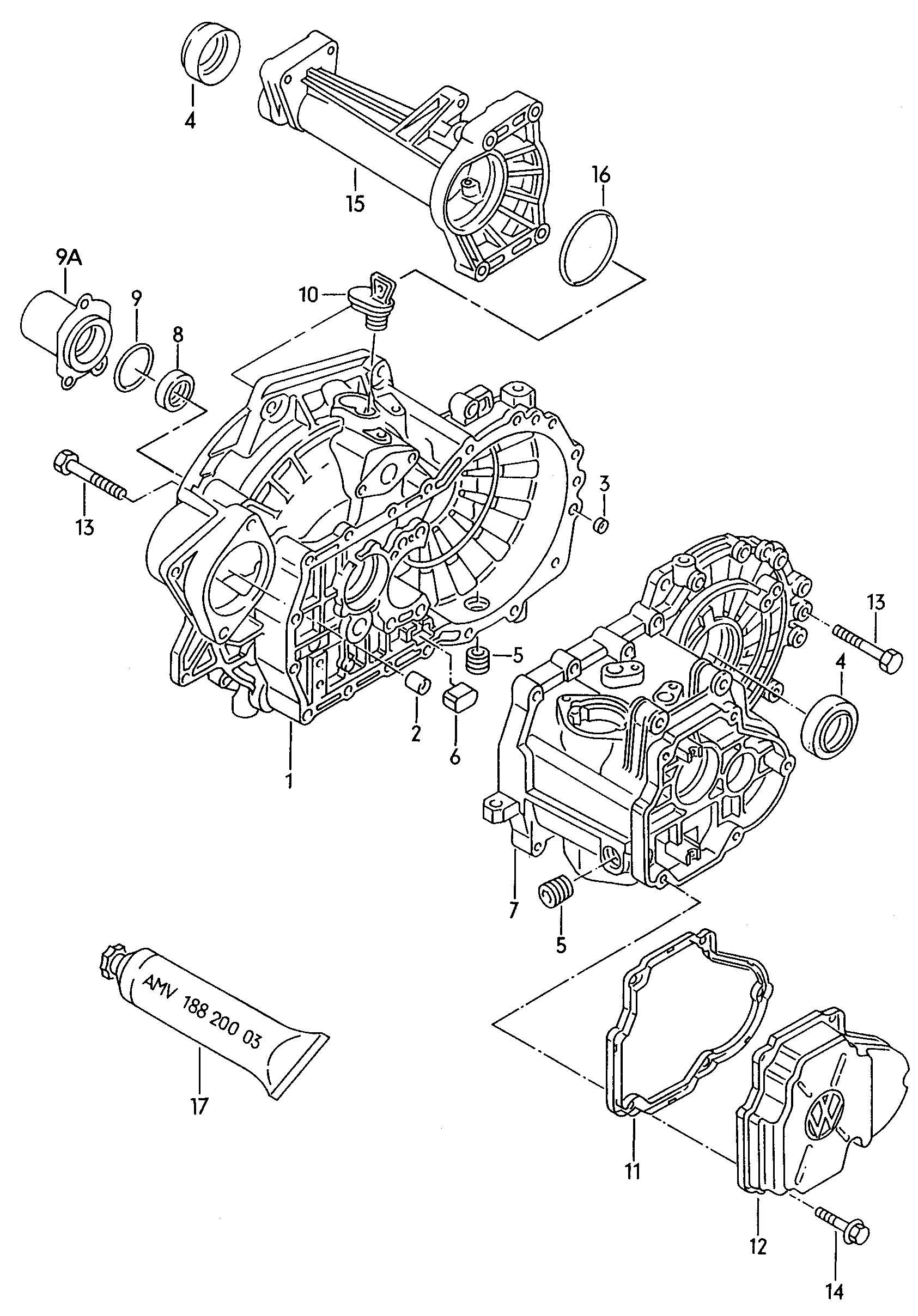 Volkswagen EuroVan Comprising: set of gaskets for manual