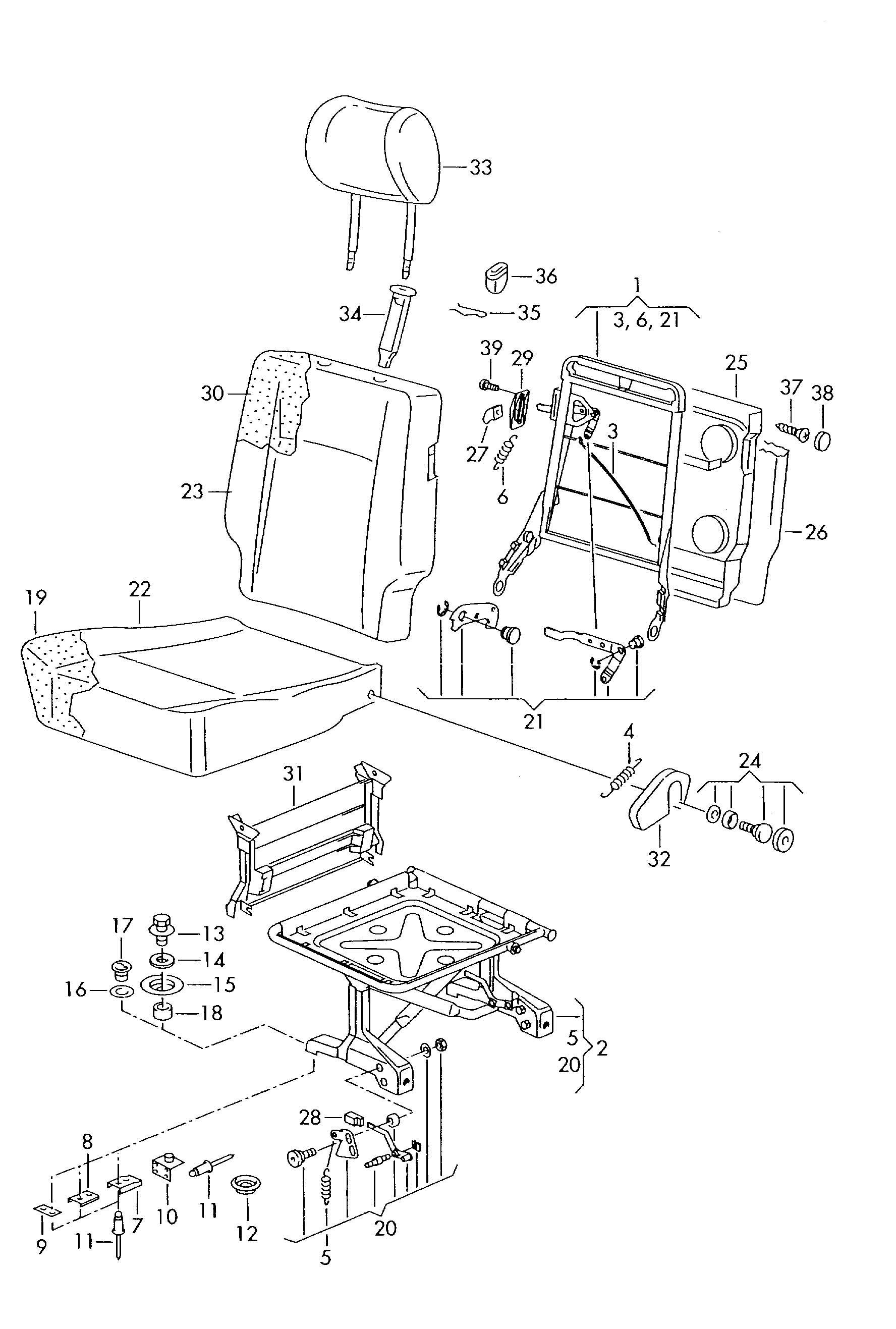 Volkswagen EuroVan Attachment bolt. 23MM. Person