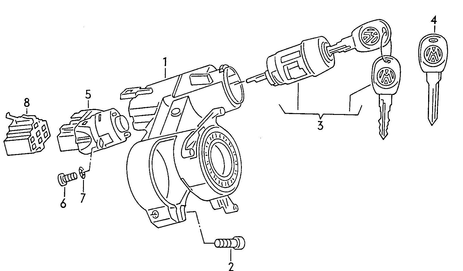 1999 Volkswagen EuroVan Steering lock ignition starter switch