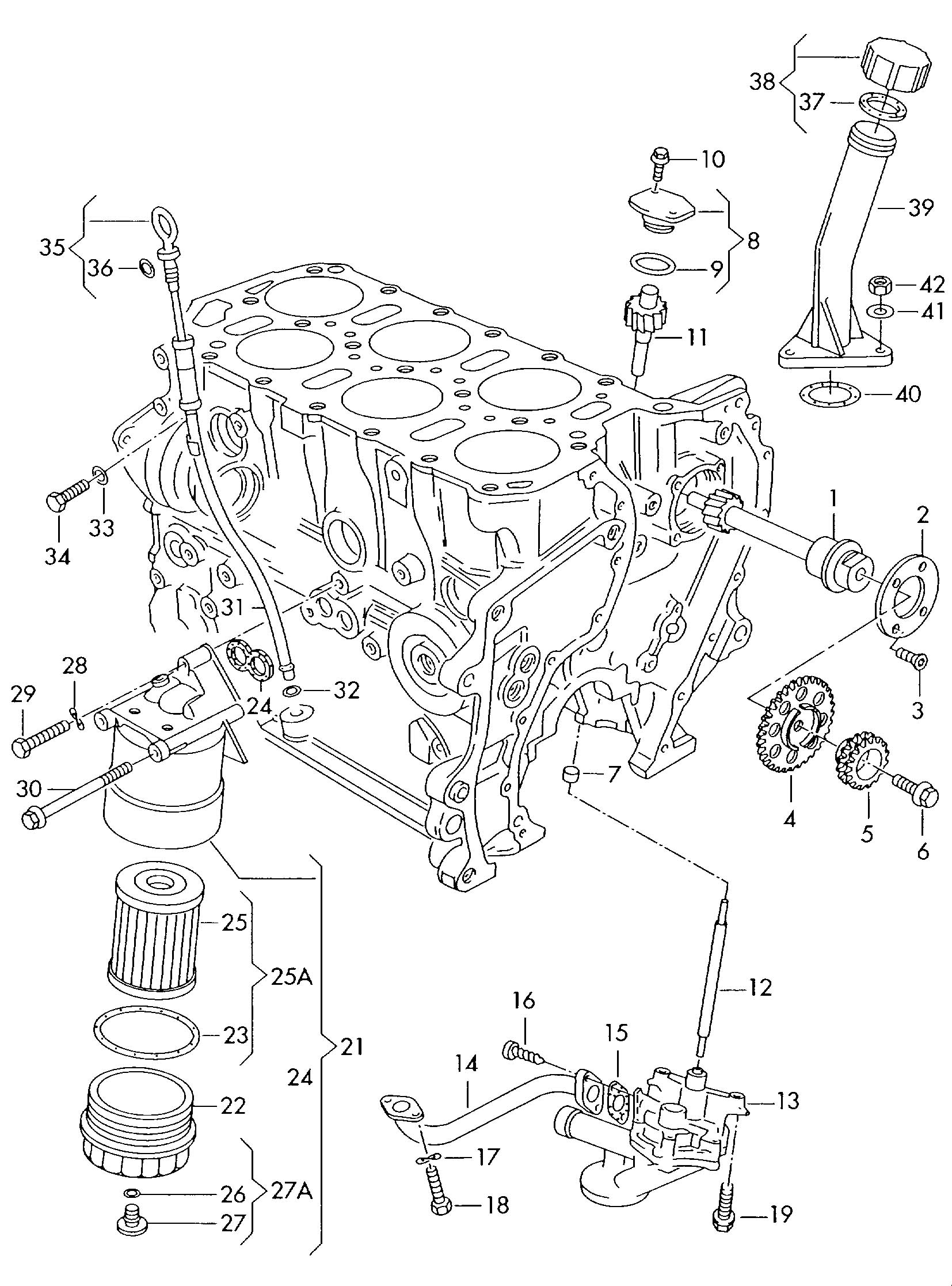 Volkswagen Jetta Oil pump oil filter 2.8ltr.