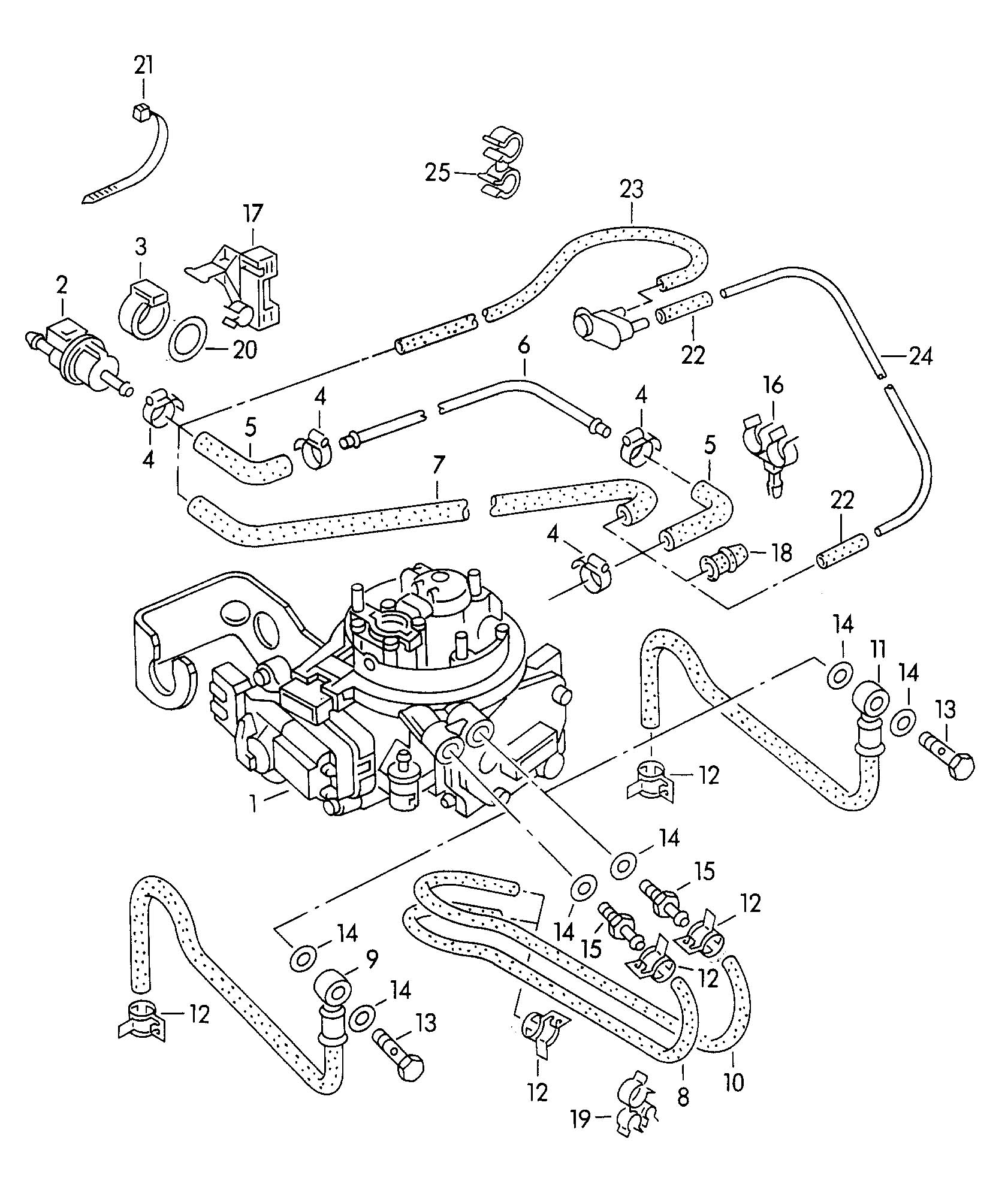 1993 Volkswagen Golf Vacuum system fuel line 1.8ltr.