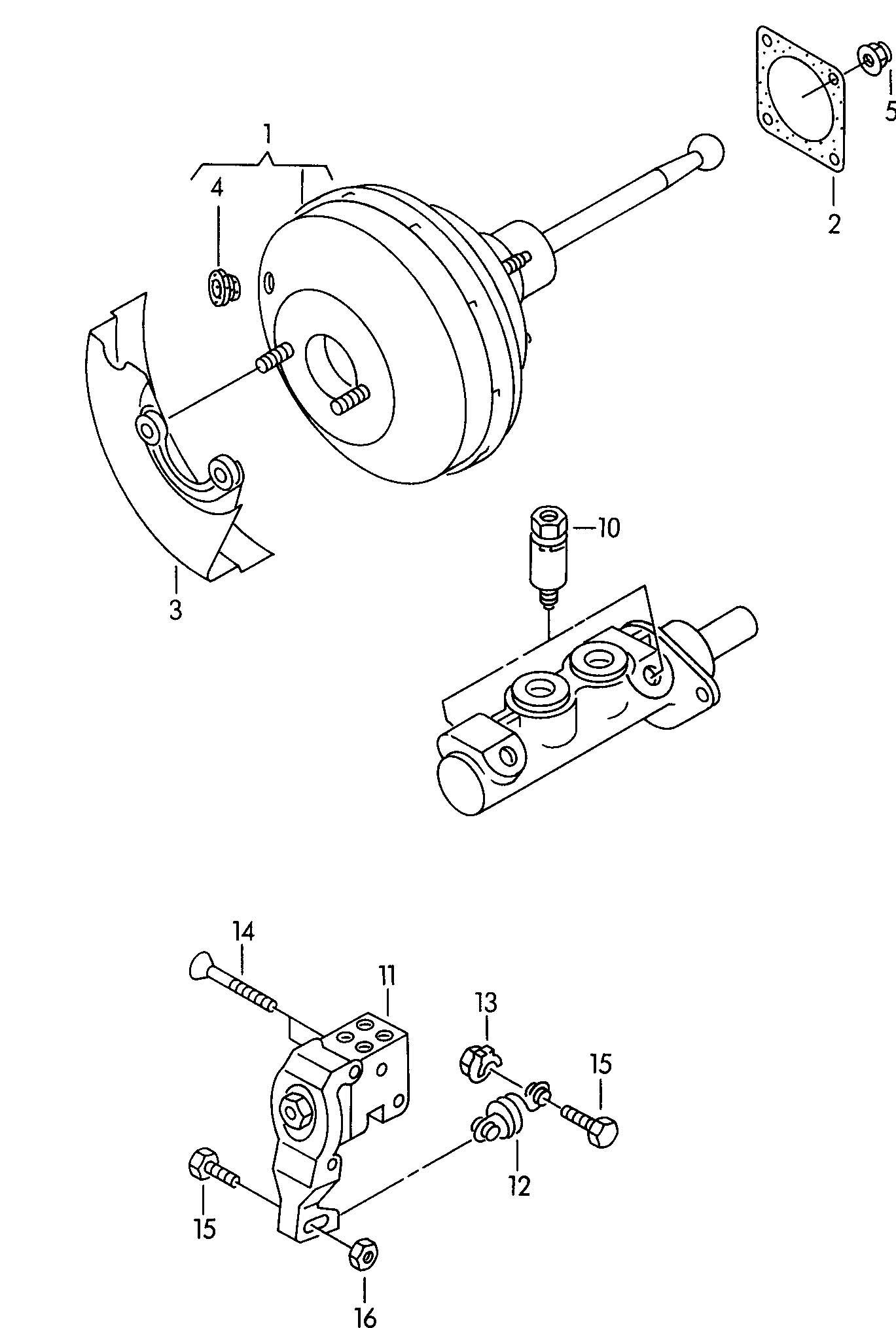 1998 Volkswagen Golf Brake booster brake pressure