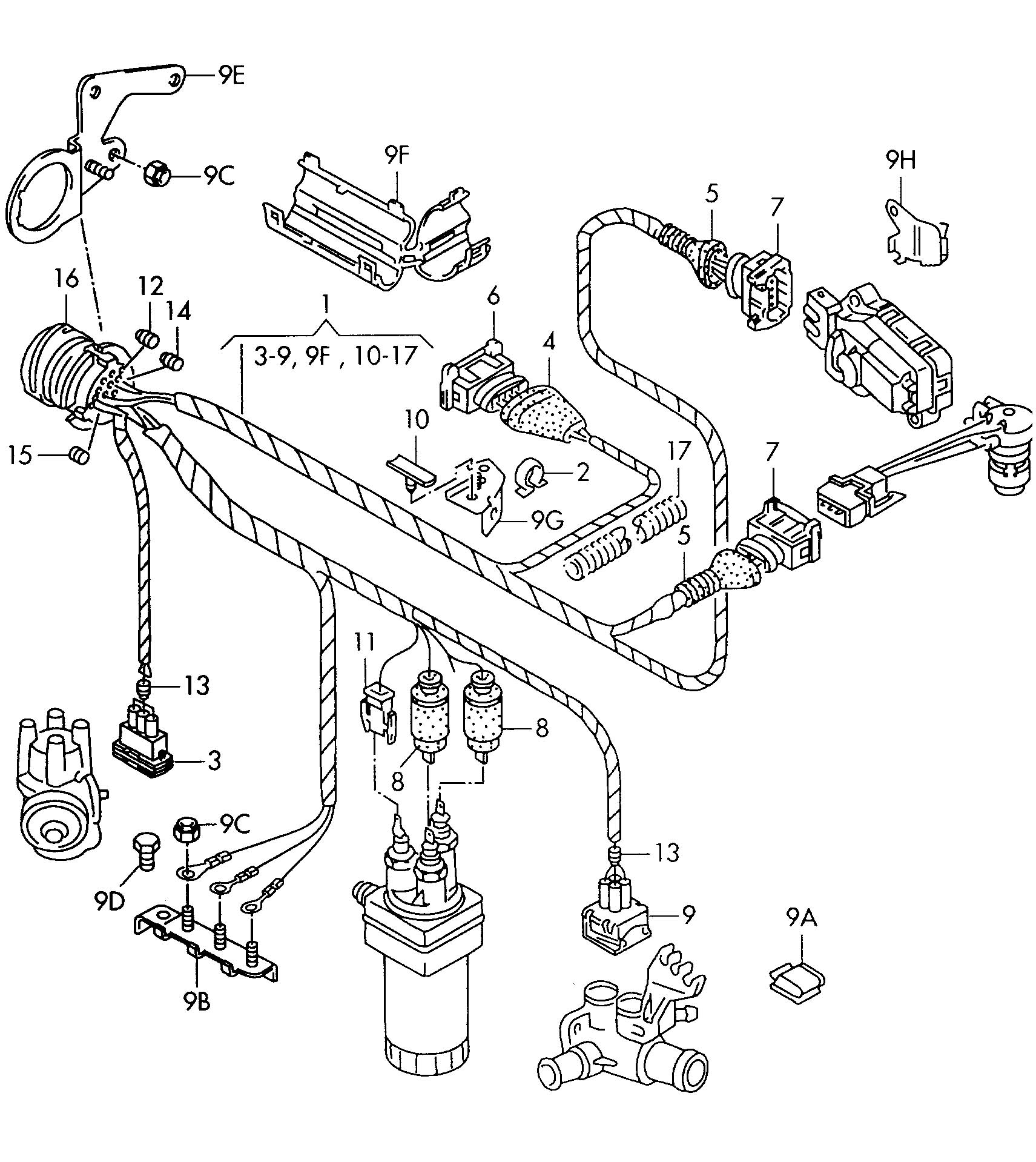 Volkswagen Golf Harness For Engine Single Parts