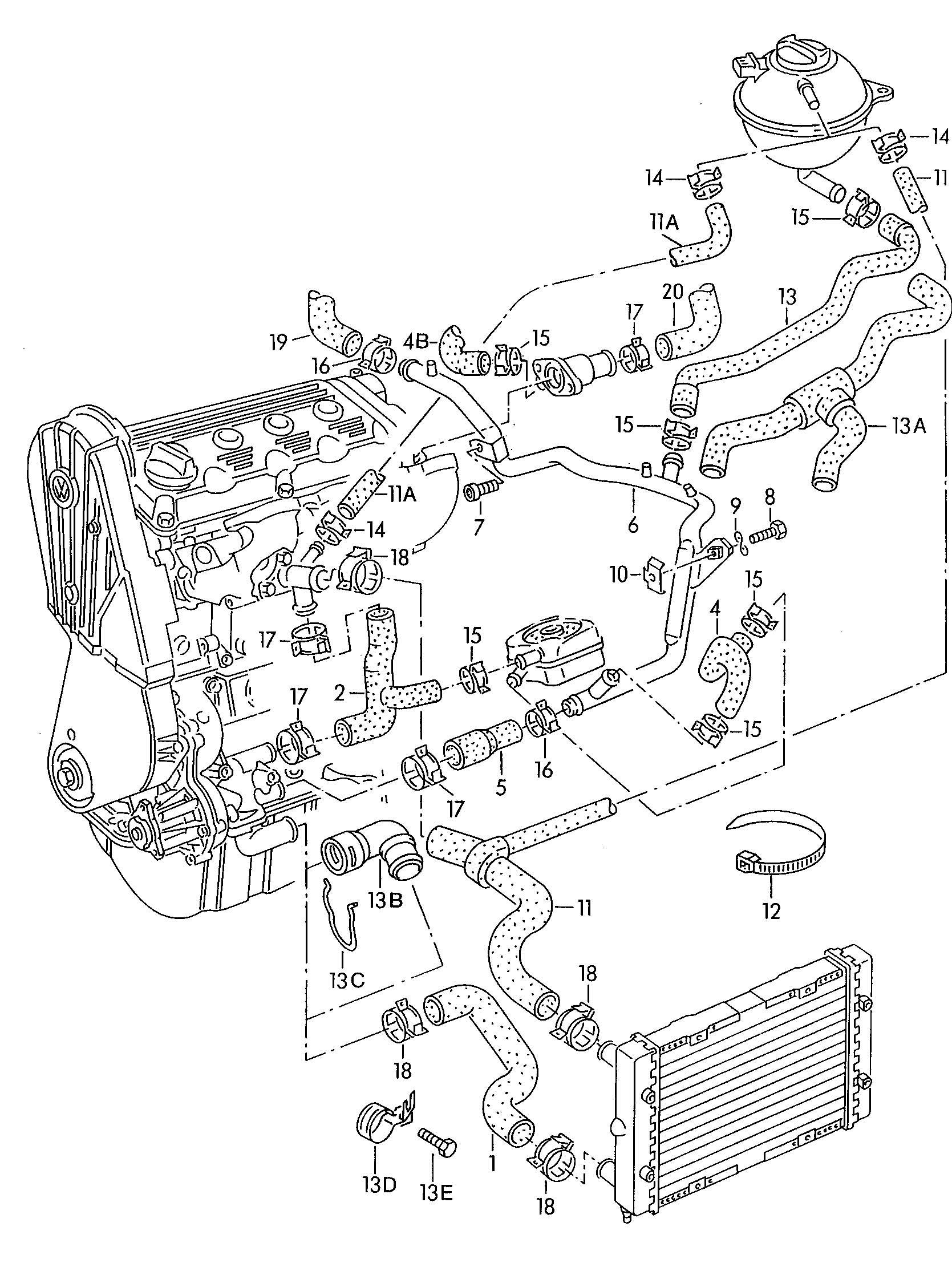 Volkswagen Passat Water hose (oil cooler > water pipe