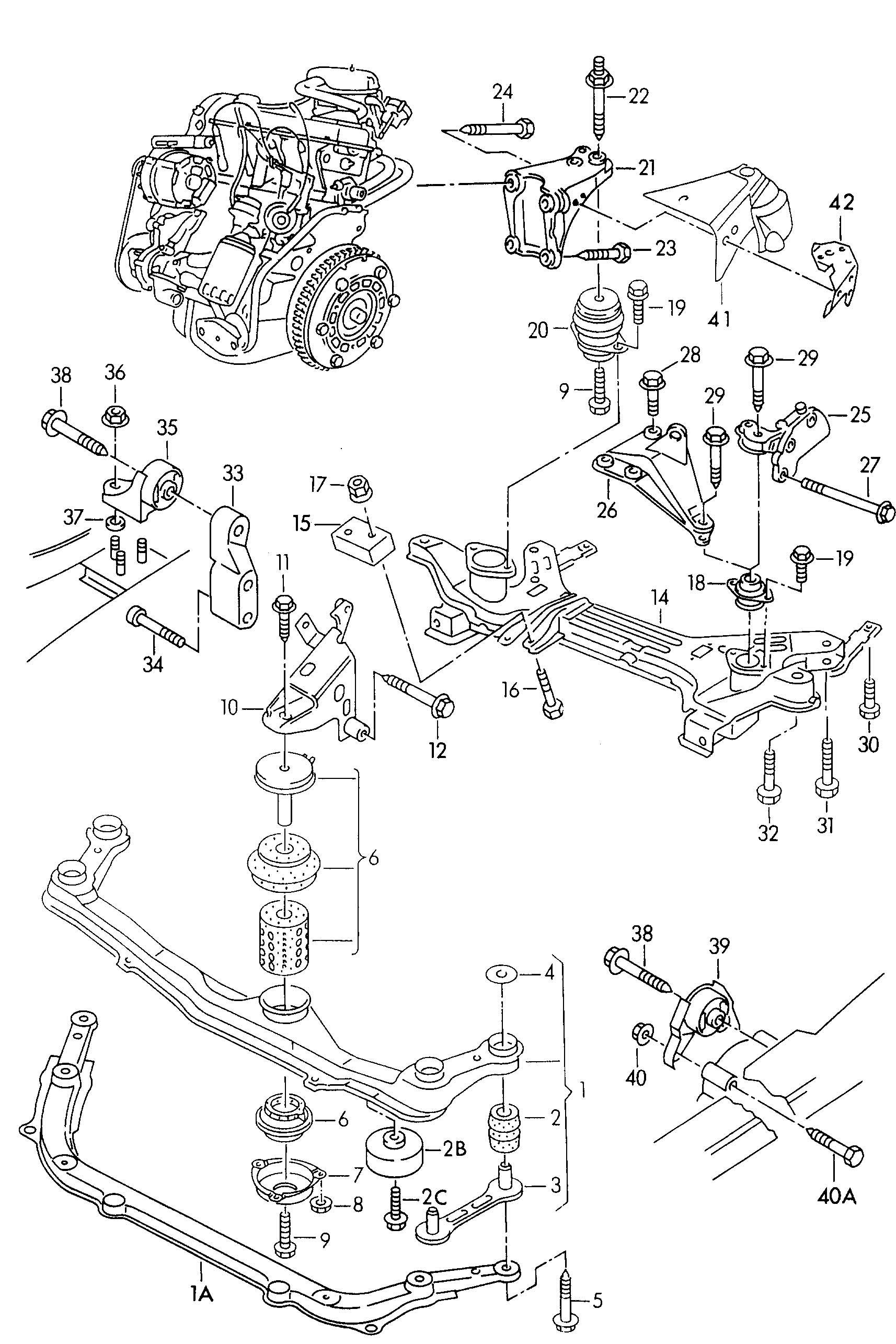 Volkswagen Cabrio/Cabriolet Bonded rubber mounting