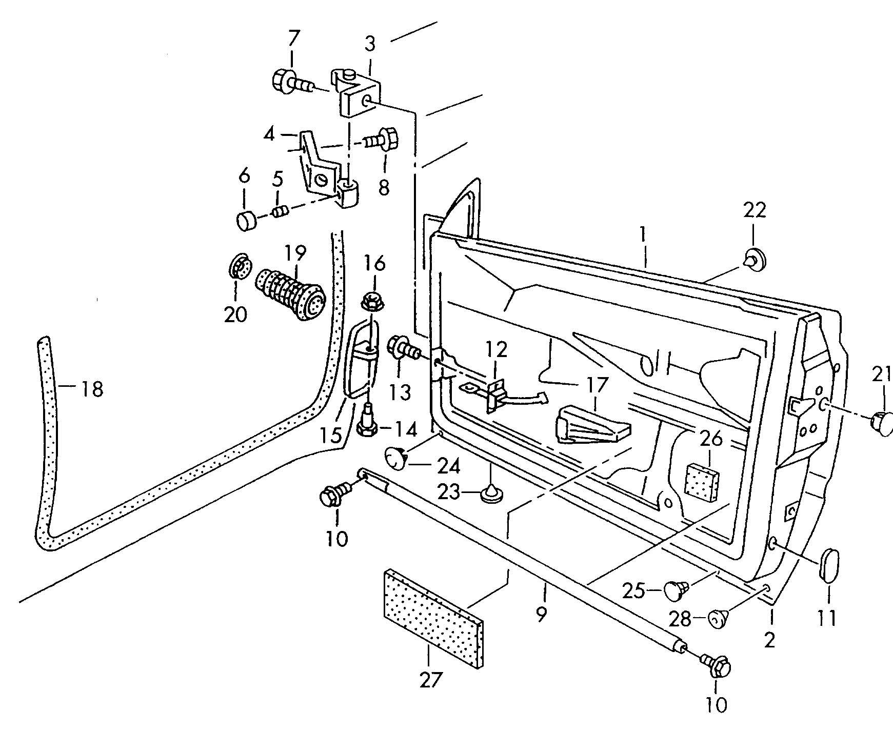 Volkswagen Cabrio/Cabriolet Door seal, inner. INNER DOOR