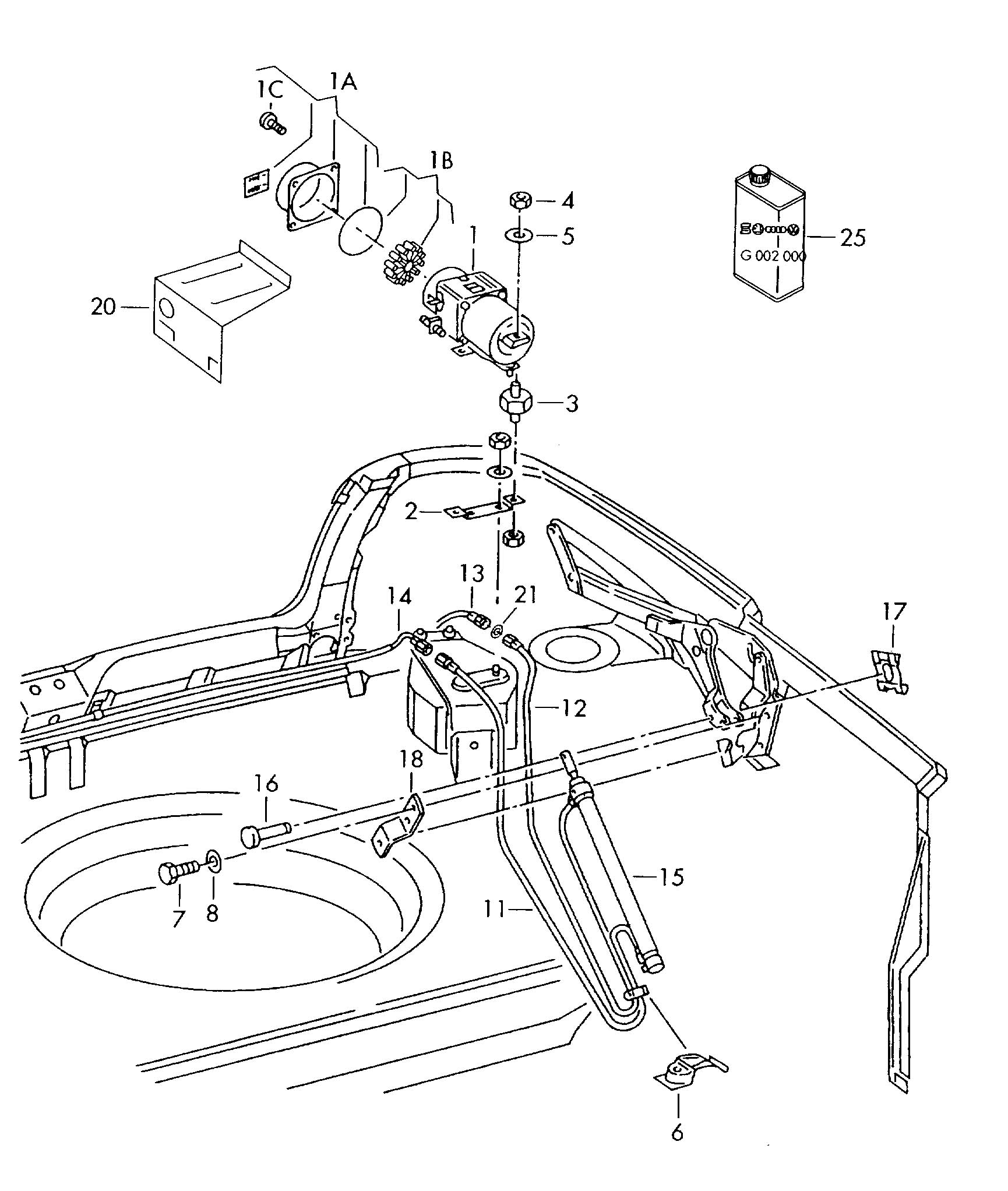 Volkswagen Cabrio Cabriolet Hydraulic System For Convertible Top Operation