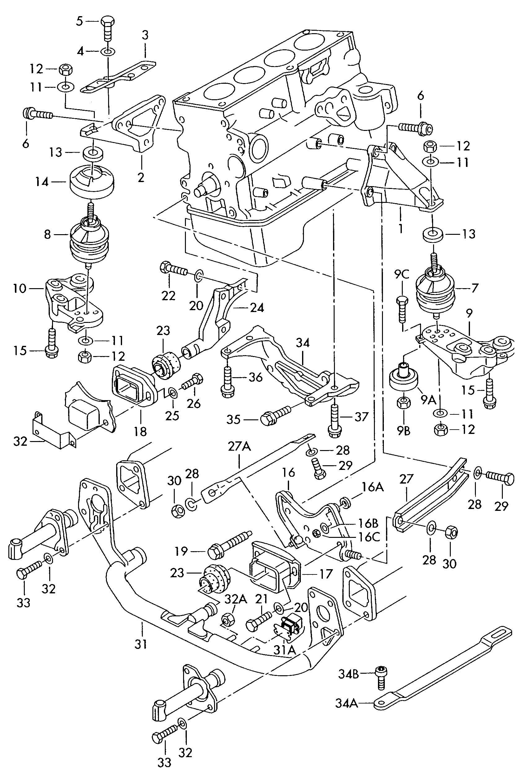 Volkswagen Passat 1 8l Turbo Securing Parts For Engine