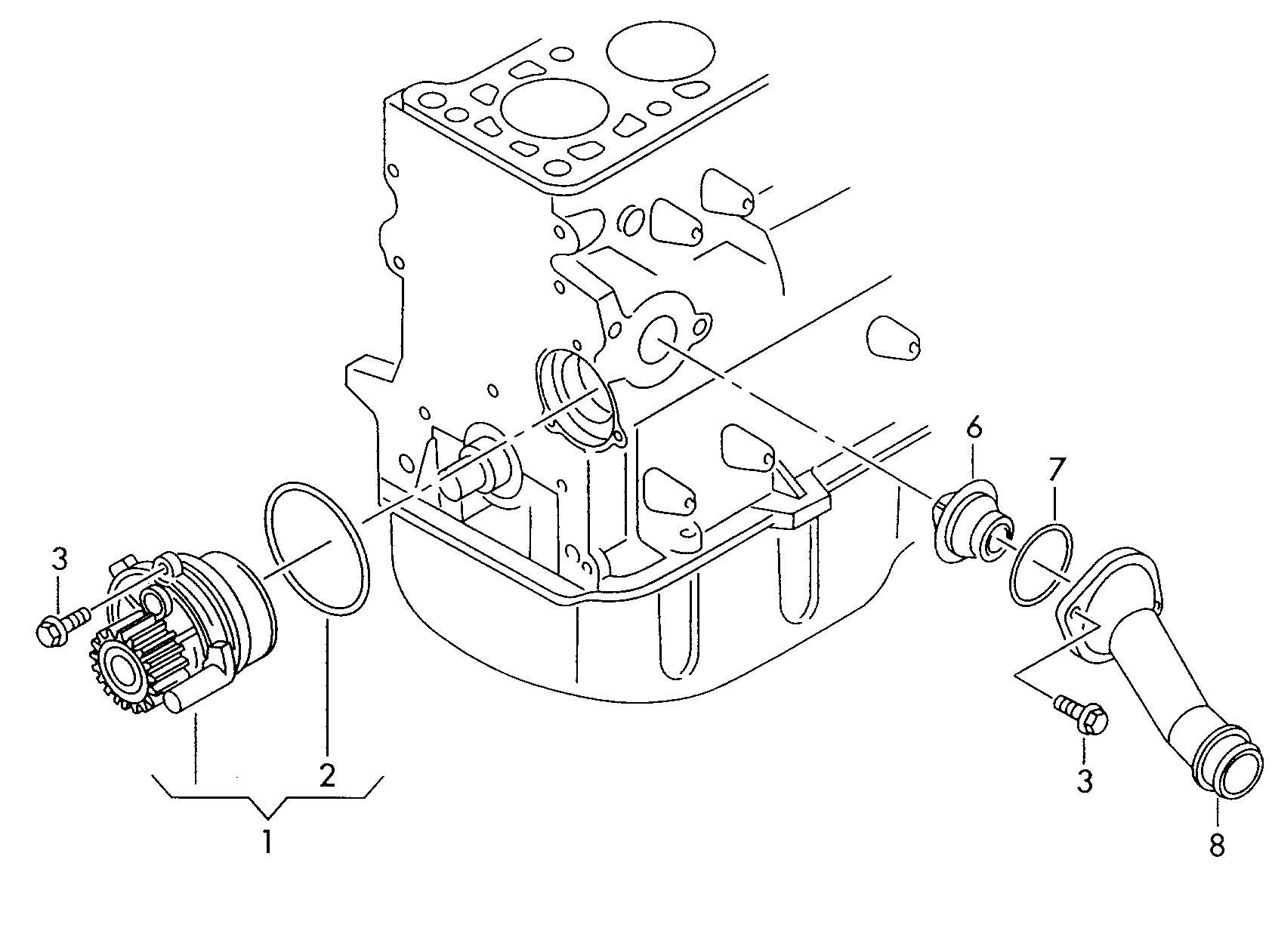 Volkswagen Jetta 1.9L TDI Water pump with gasket. AWV, AWW