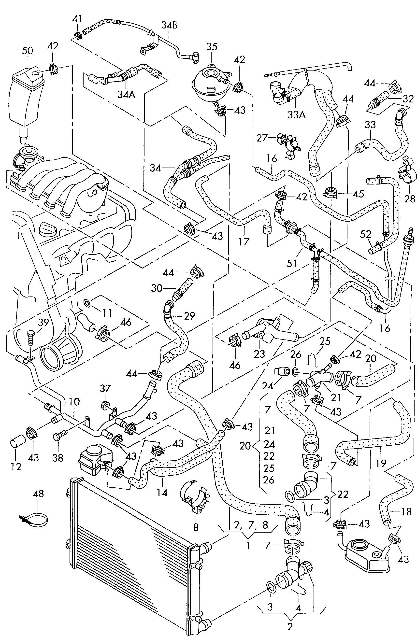 Volkswagen Golf 1.8L Turbo Water hose (flange > water pipe