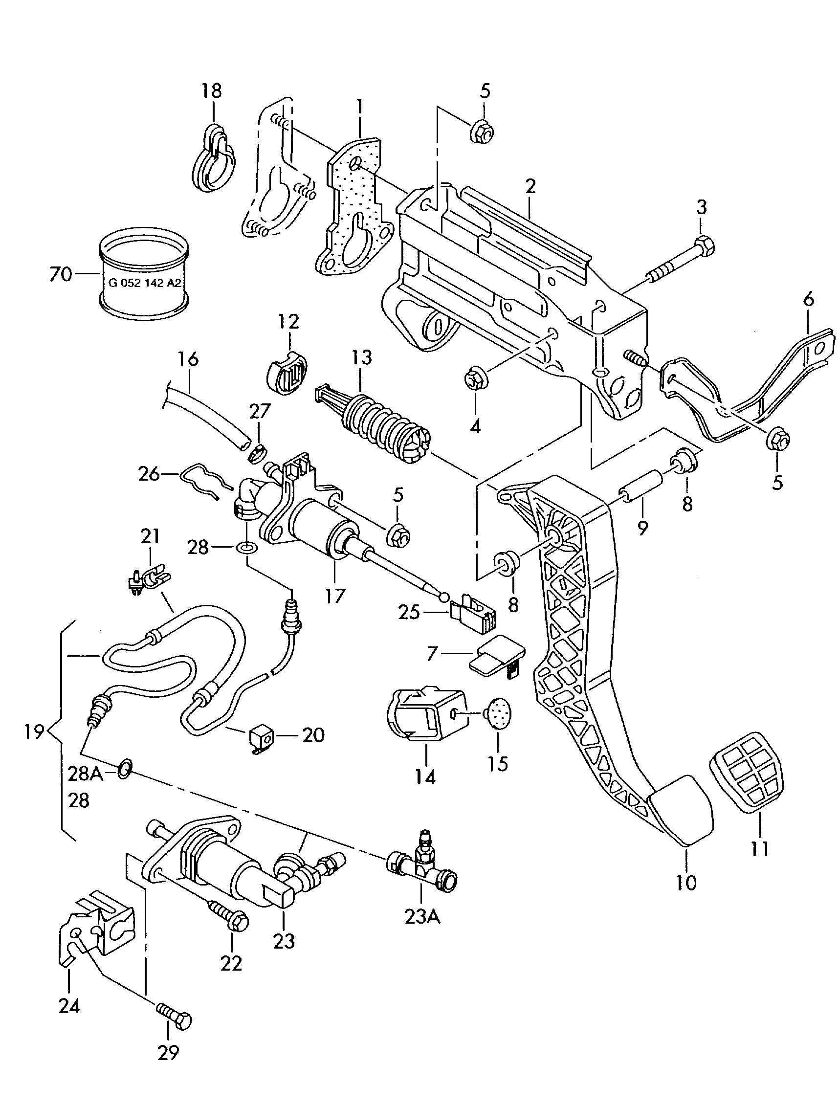 Volkswagen (VW) New Beetle Clutch pedal mechanism