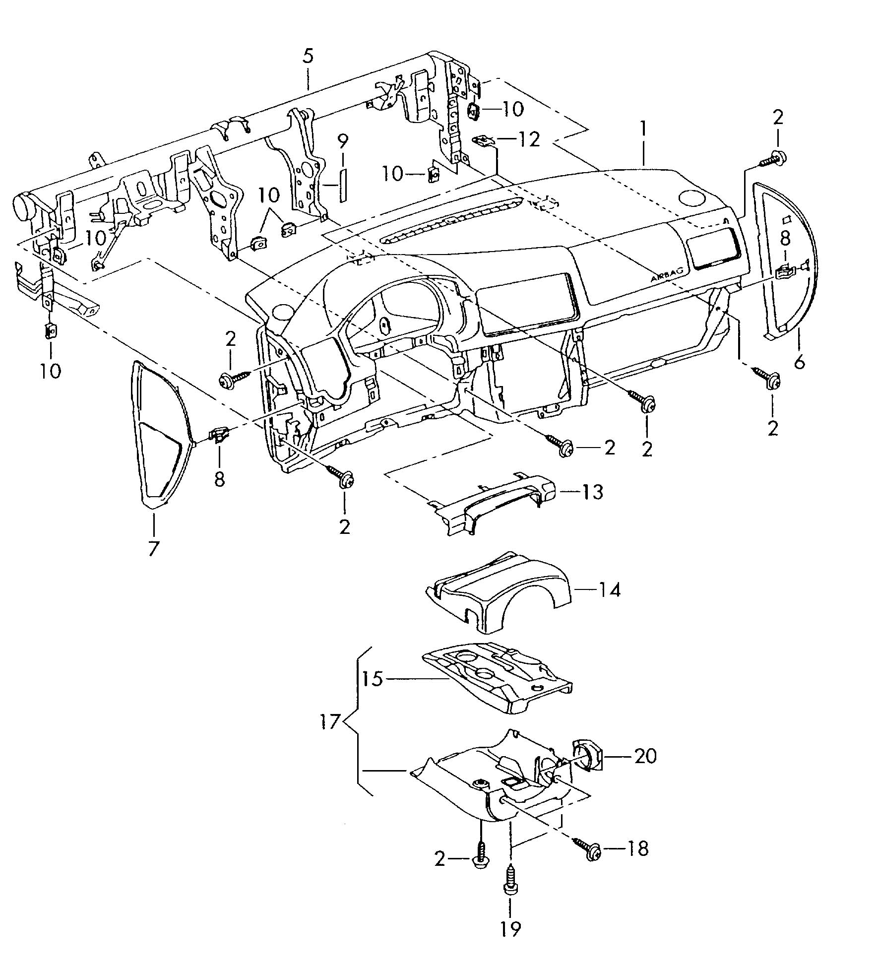 Volkswagen Jetta Variant Steering Column Cover (Lower