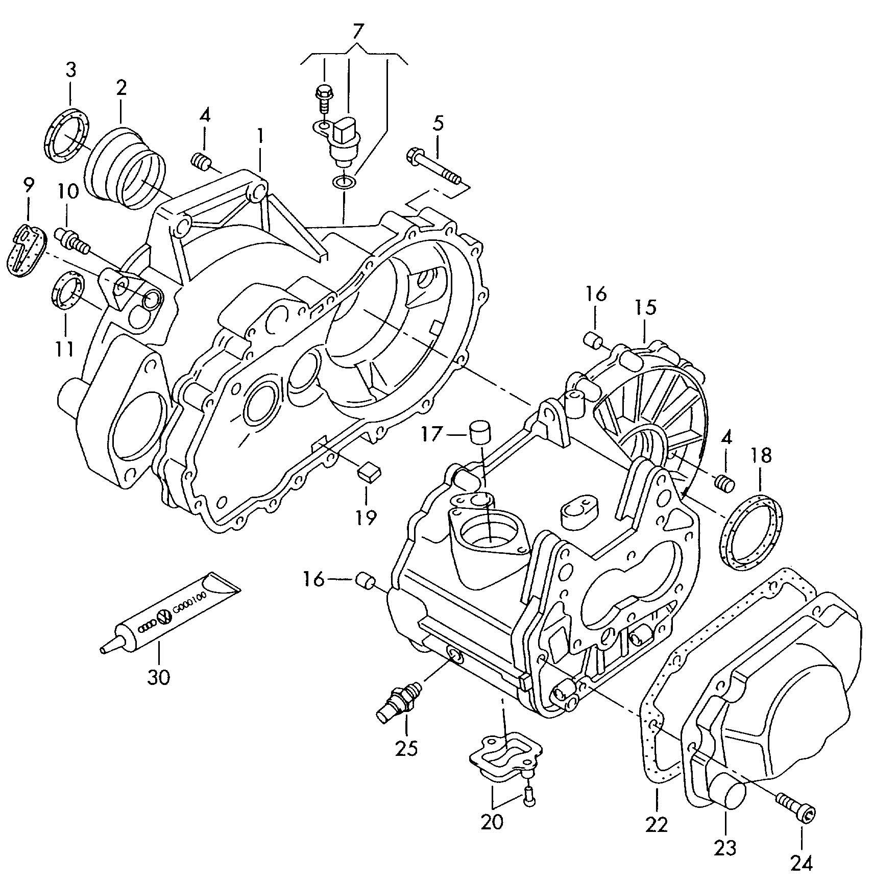 Transmission case for 5 speed manual transmiss.