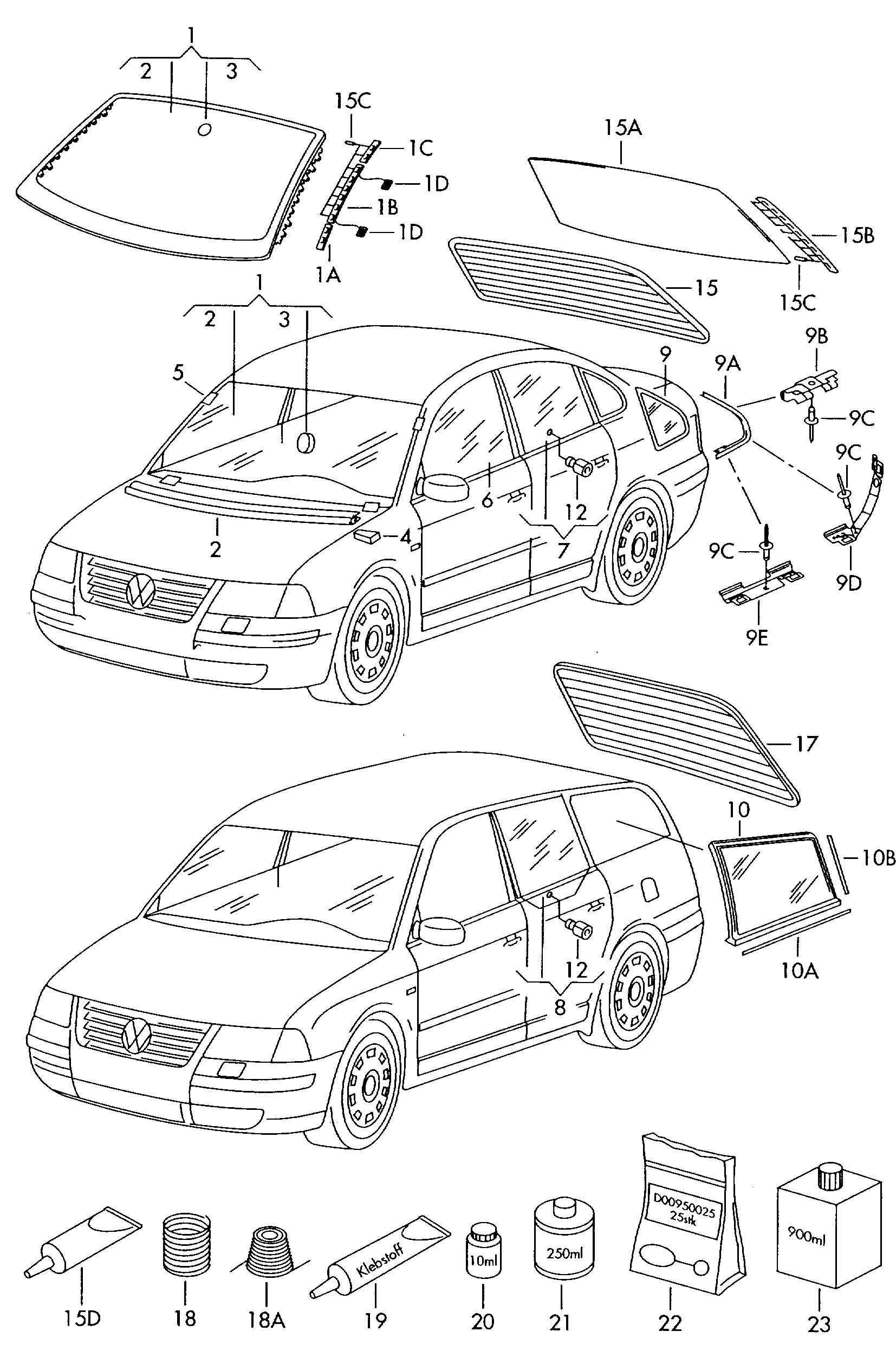 Volkswagen Passat Pin door window. DOOR GLASS. GLASS