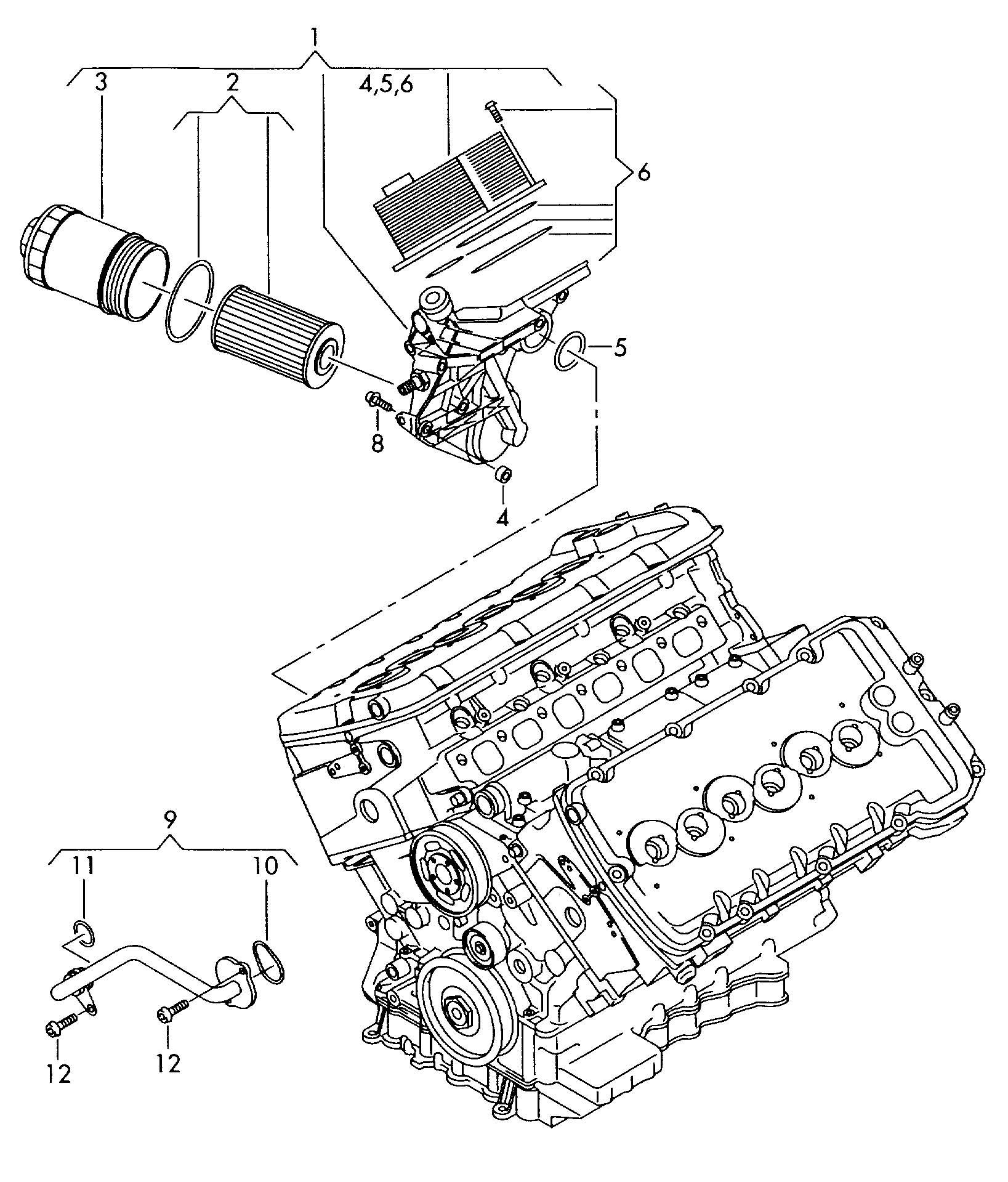Volkswagen Phaeton Oil Cooler Oil Filter 6 0ltr