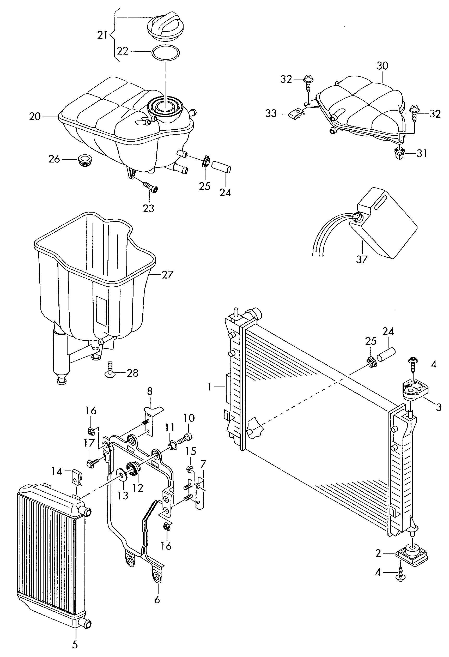 Volkswagen Phaeton Coolant Expansion Tank Coolant Exp