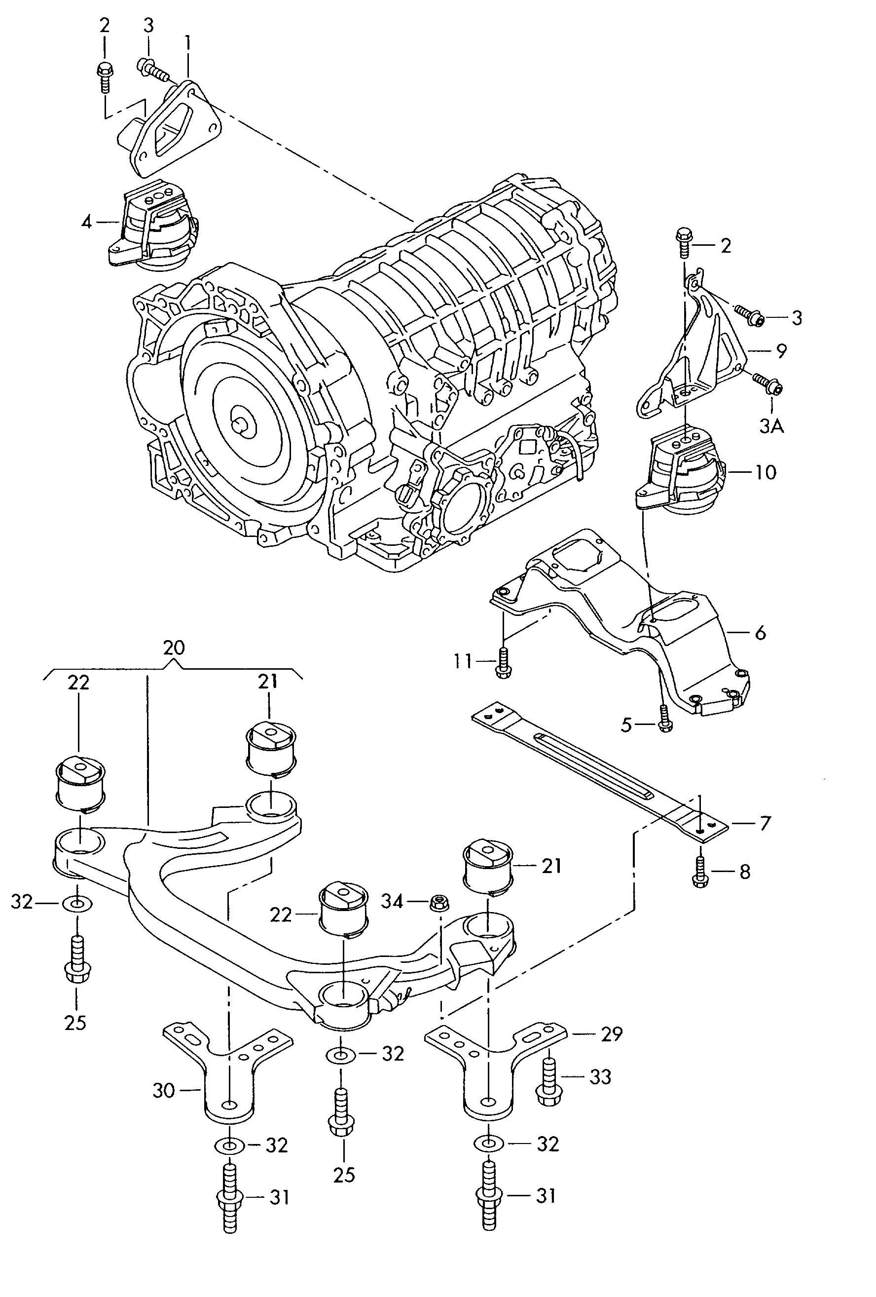 Volkswagen Phaeton Bonded Rubber Mounting