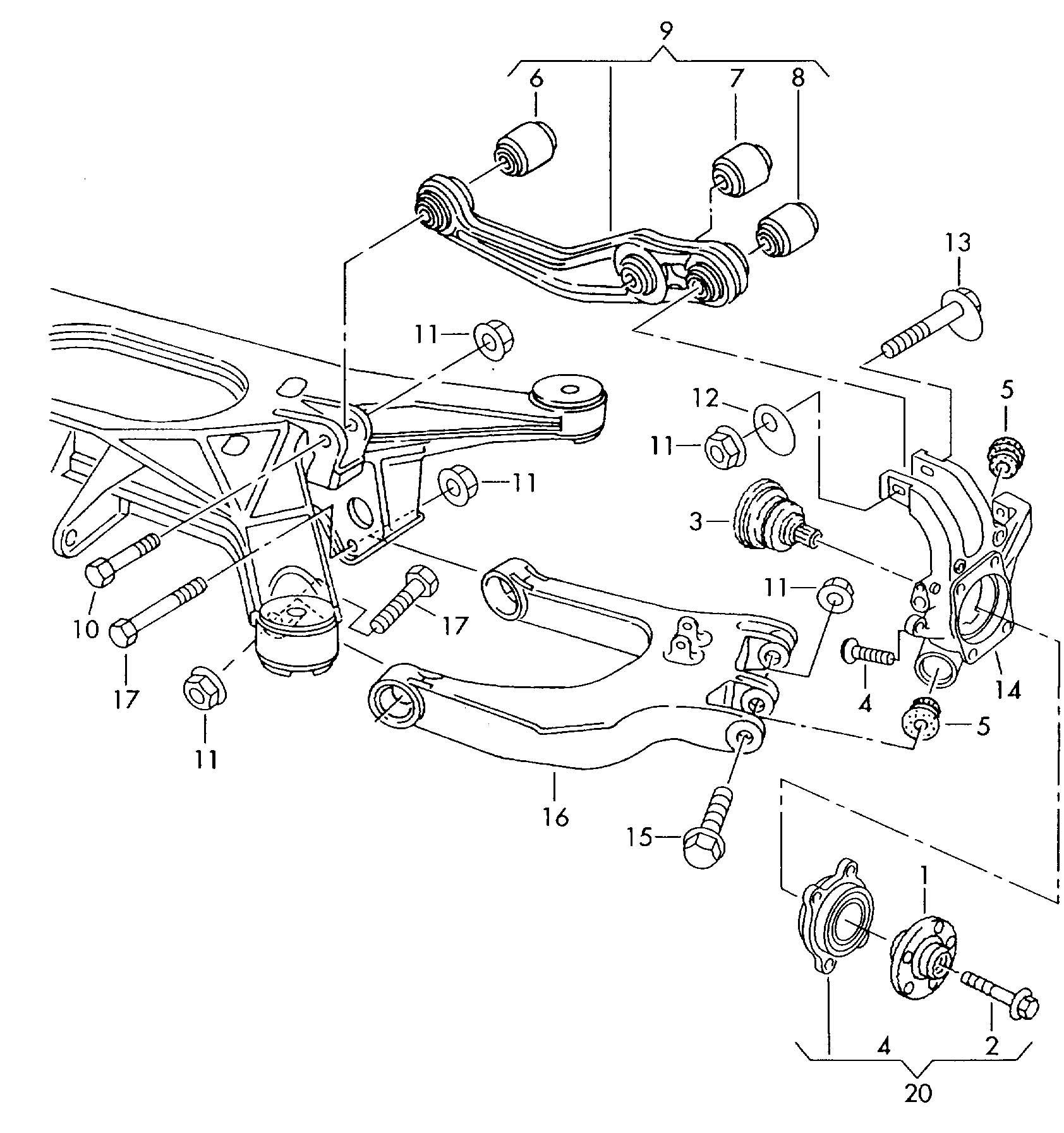 Volkswagen Phaeton Trailing arm track control arm wheel