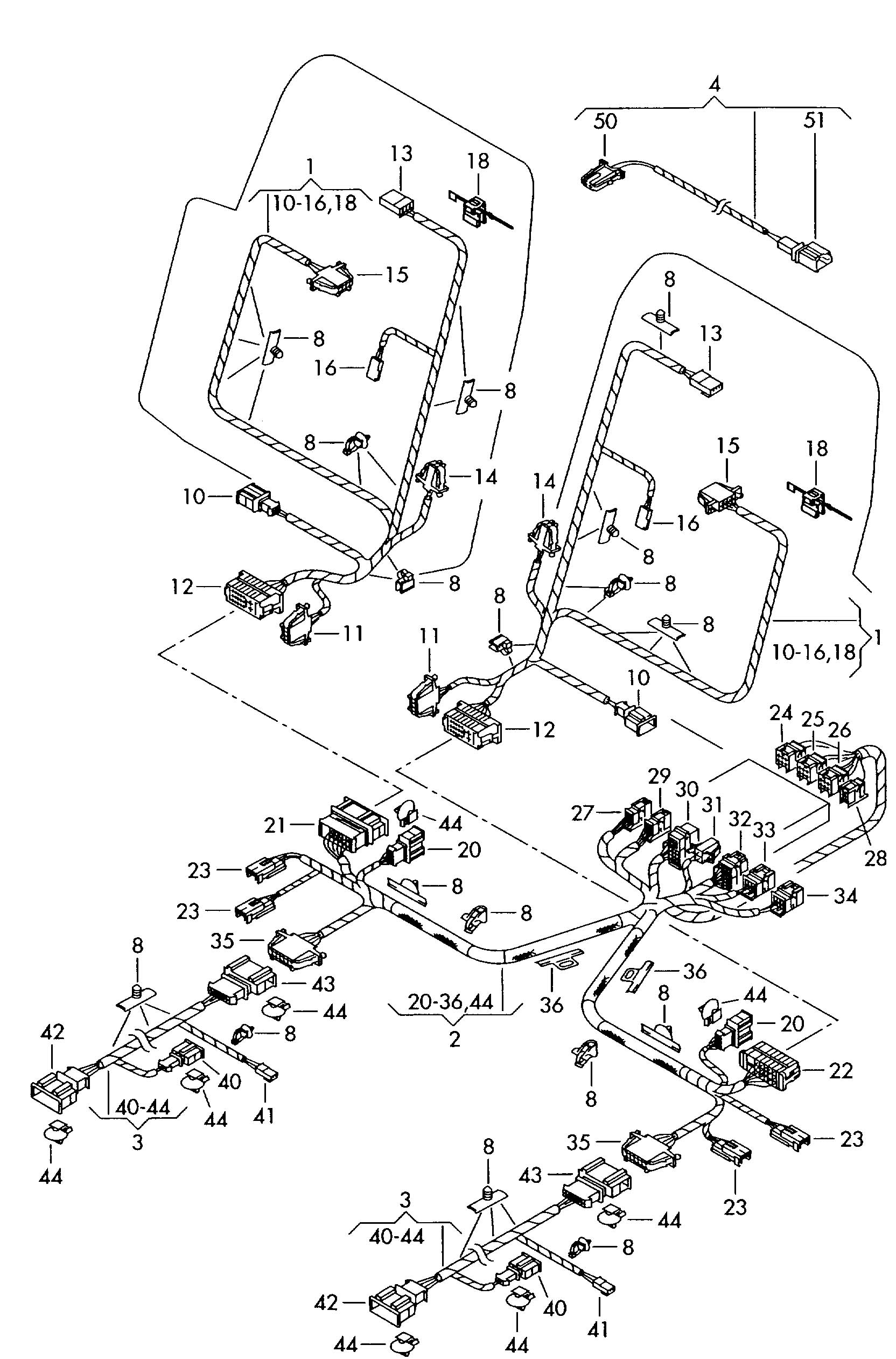 Wire harness for electri- single parts cally-operated seat