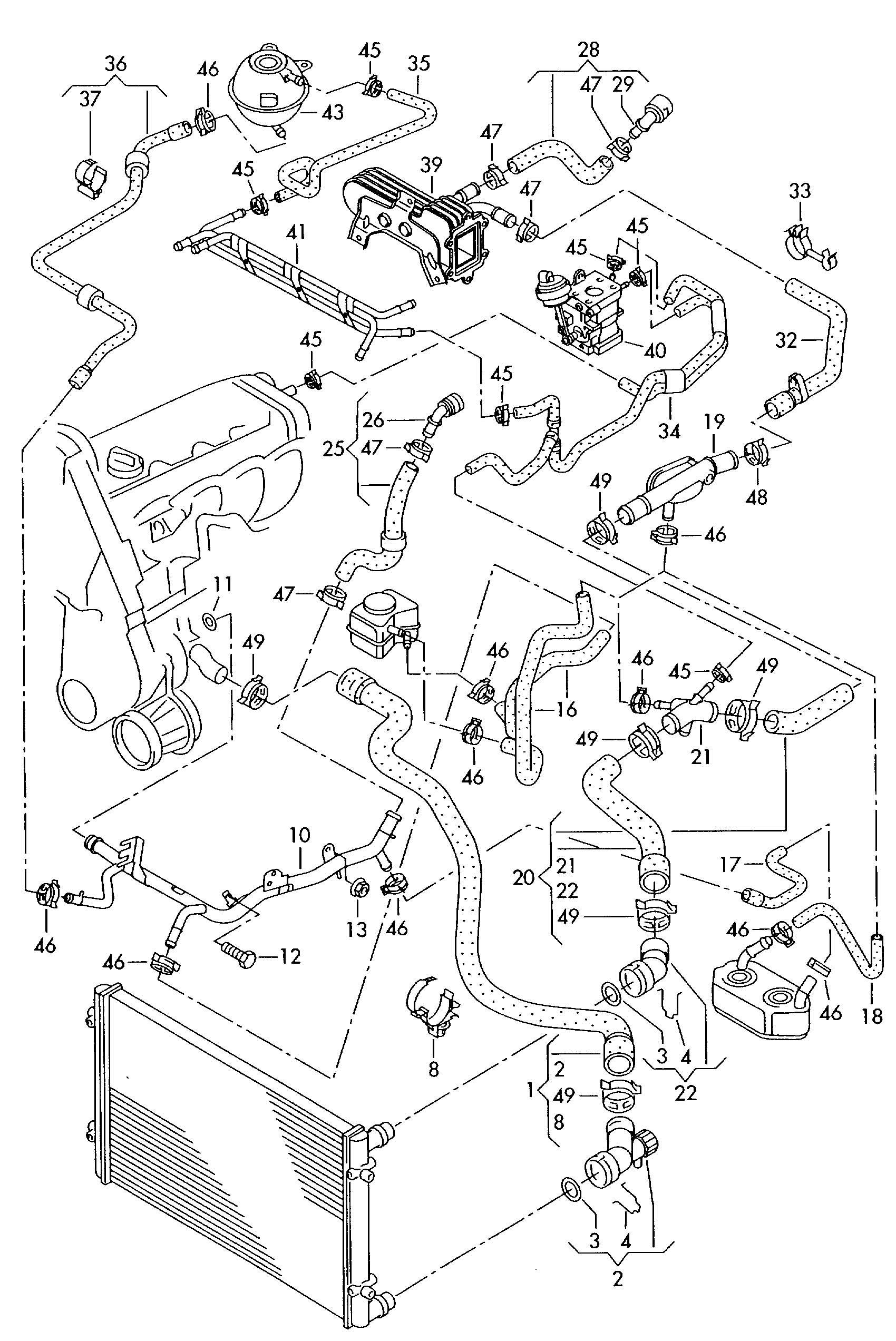 2007 Volkswagen New Beetle Water hose (coolant radiator