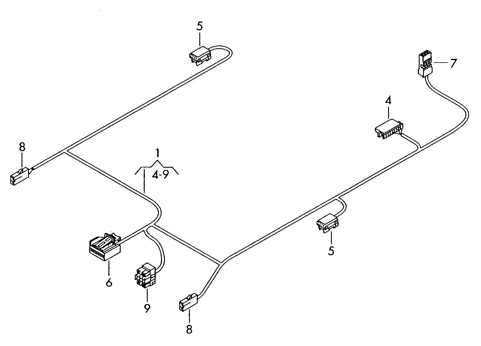 2006 Volkswagen Touareg Adapter wiring harness roof wiring
