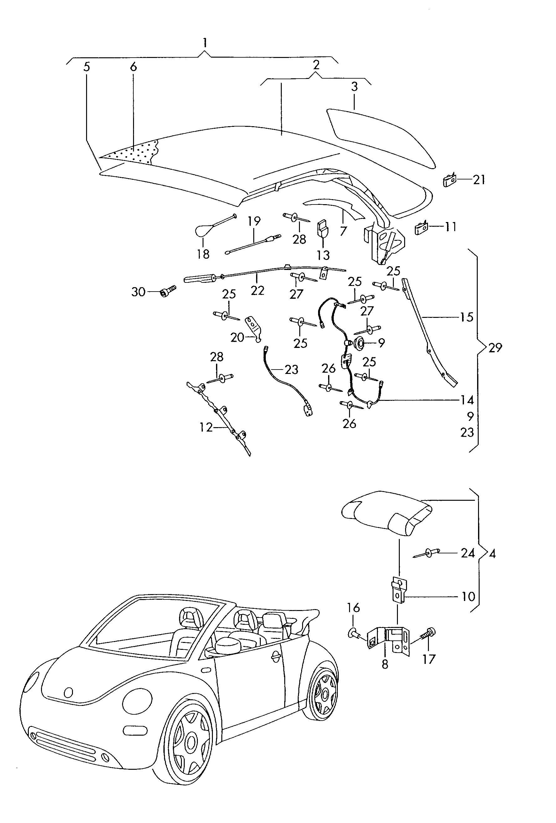 Volkswagen New Beetle Convertible Conv. top (complete)
