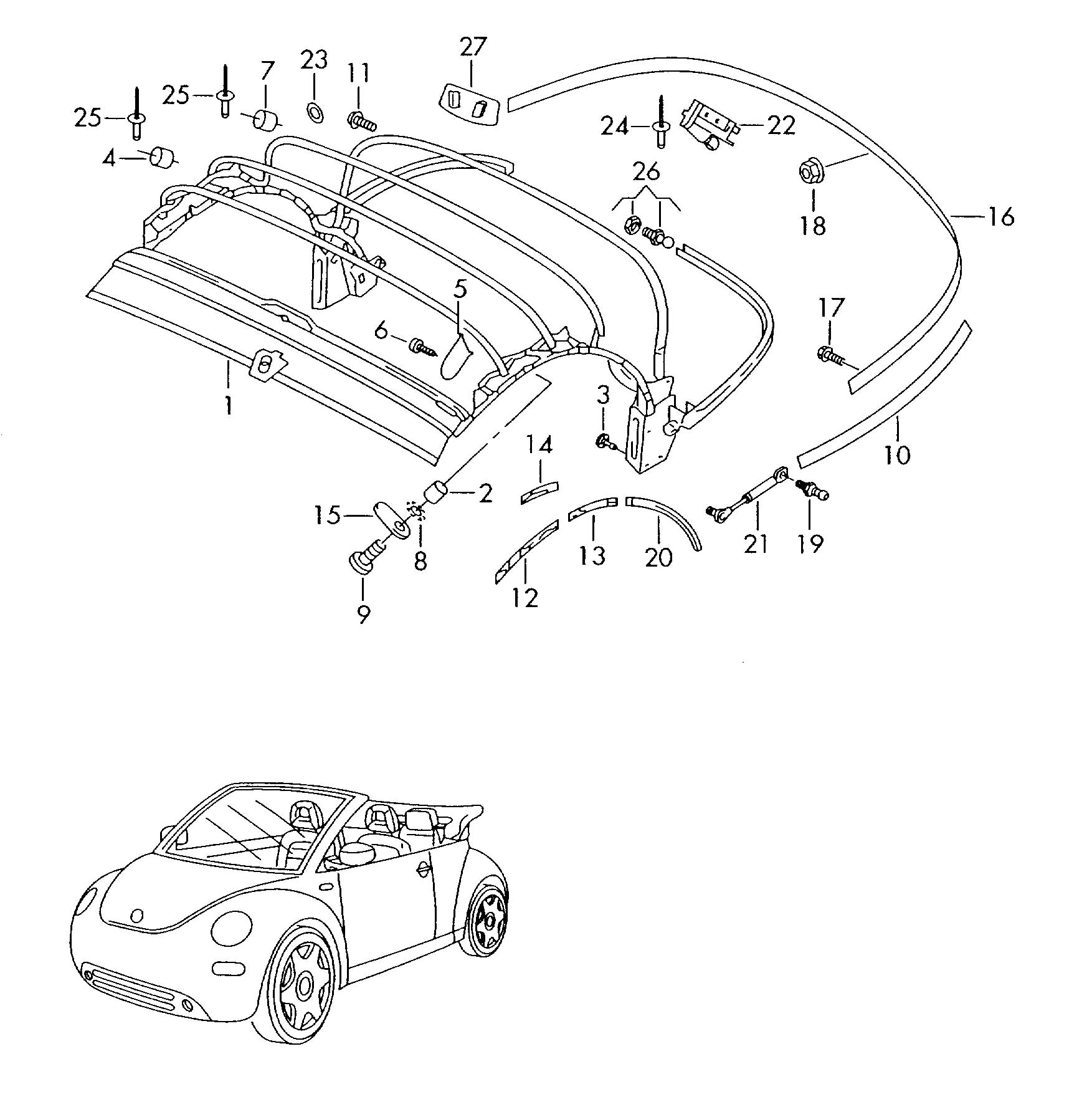 Vw New Beetle Convertible Top Parts