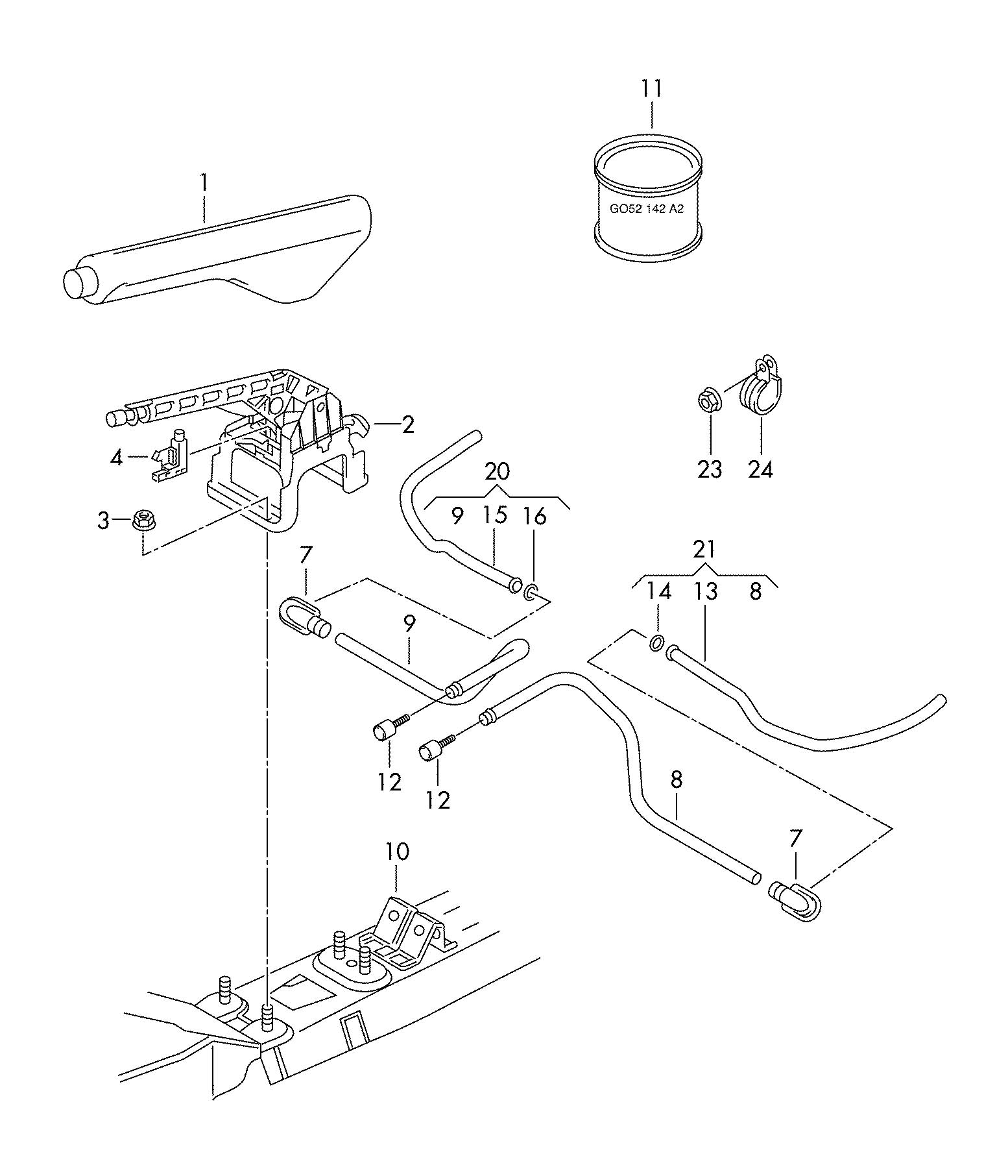 2012 Volkswagen Guide tube for hand brake cable