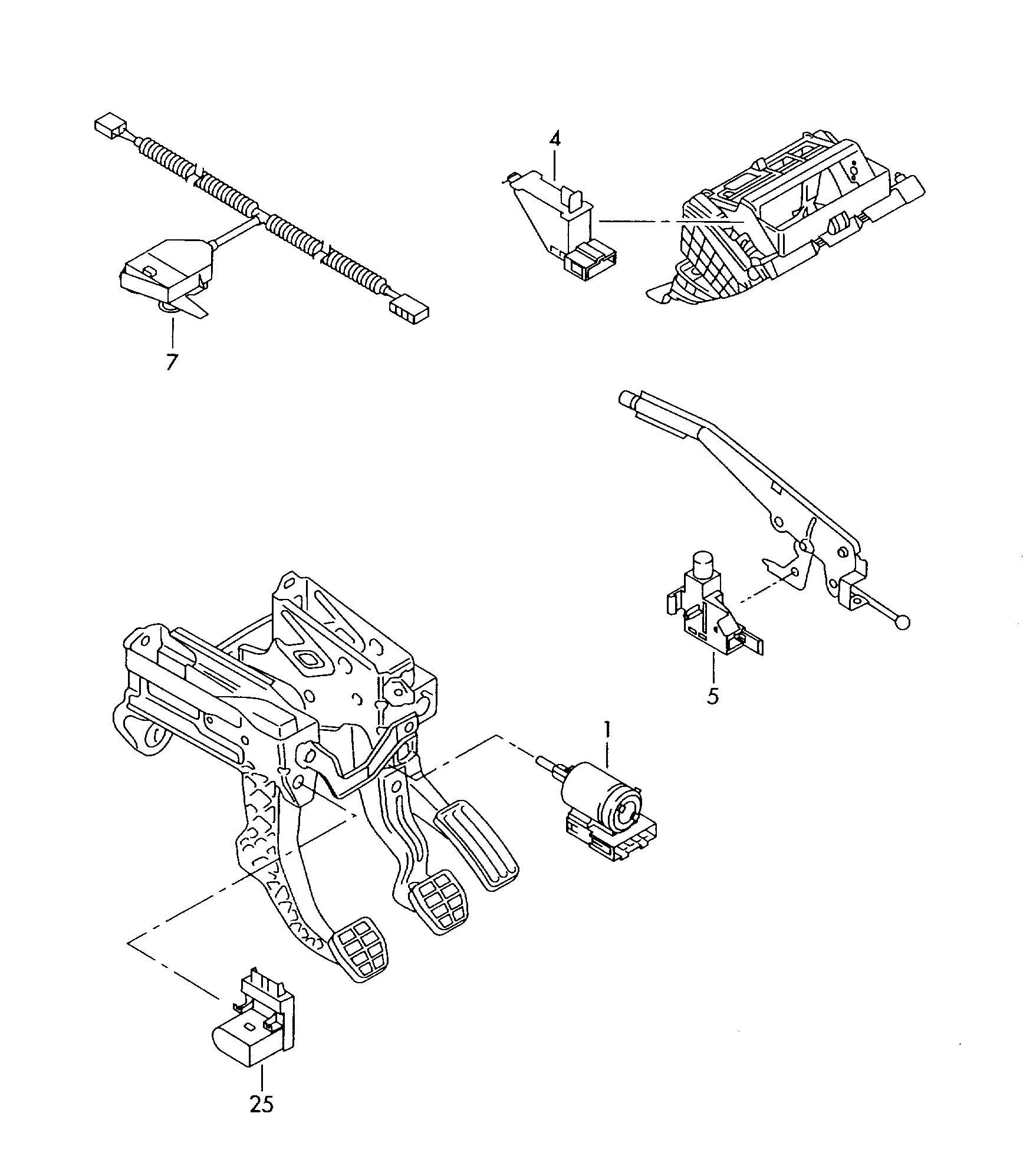 Volkswagen Passat Switch hand brake lever glove box cover