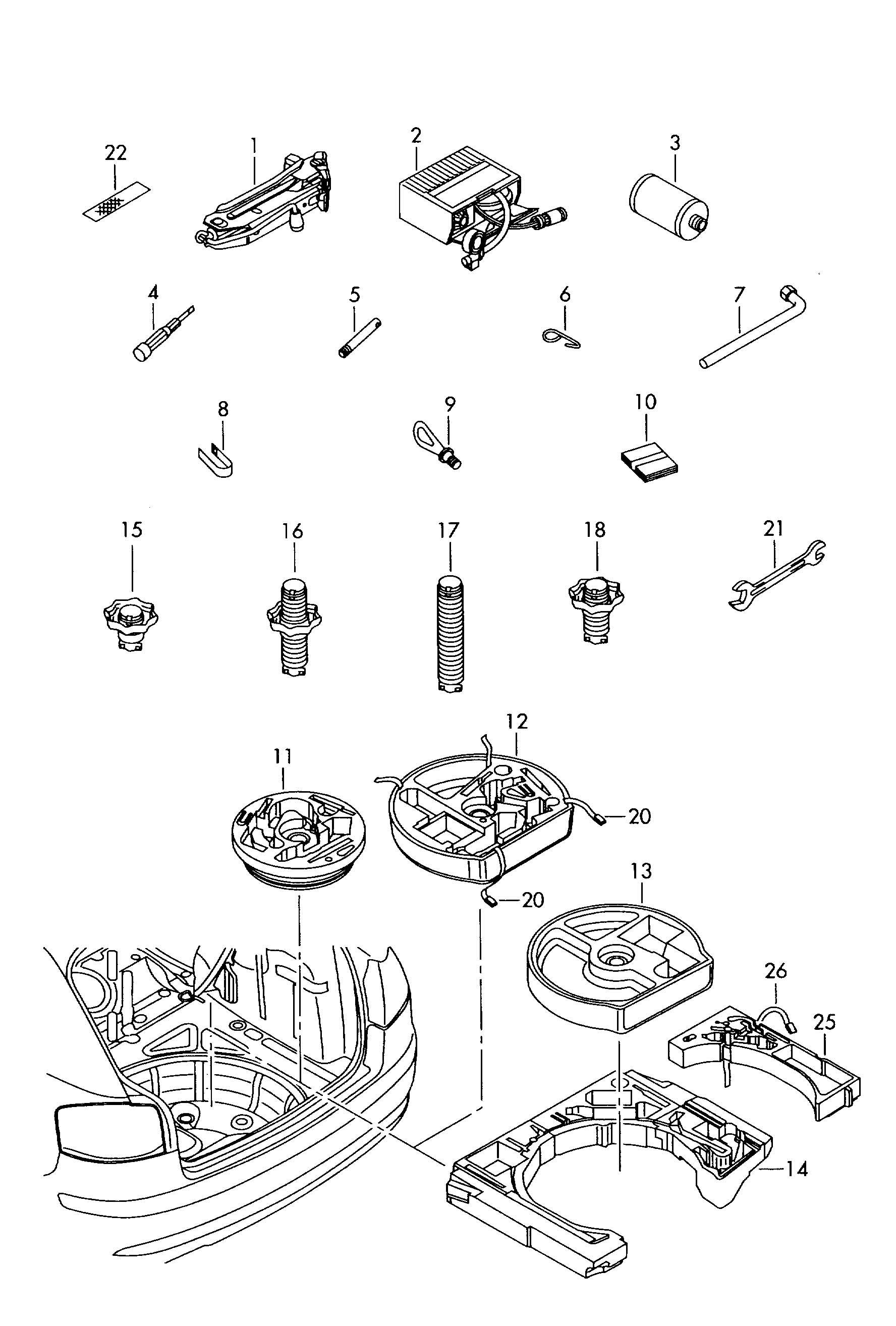 Volkswagen Jack Tools Breakdown Set With Compressor