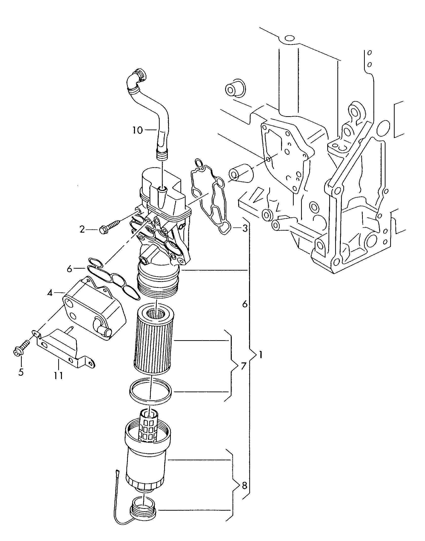 2008 Volkswagen (VW) Eos Oil filter oil filter adapter 2.0ltr.