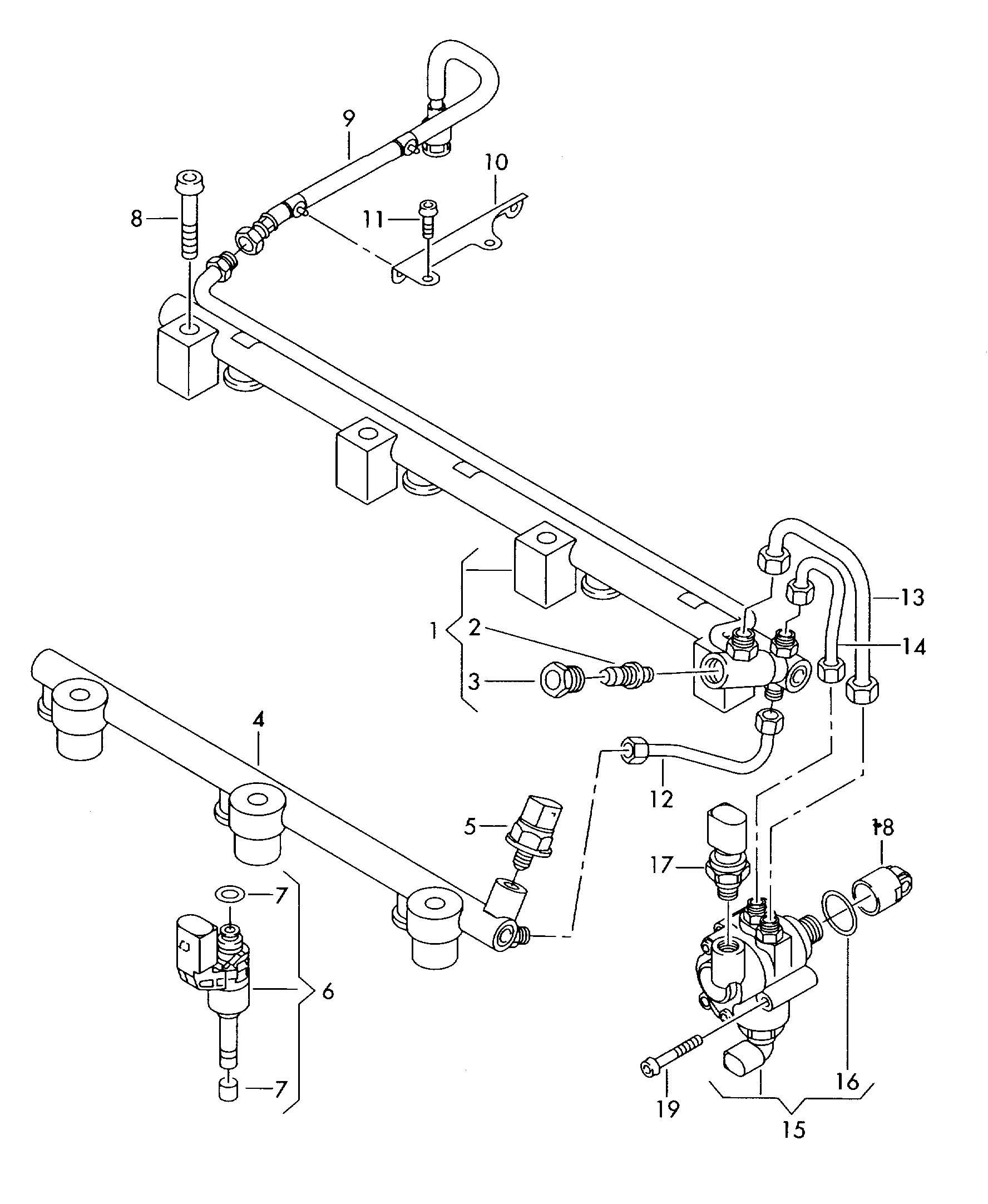 Volkswagen Passat Fuel Rail Fuel Pump 3 2 3 6 Ltr