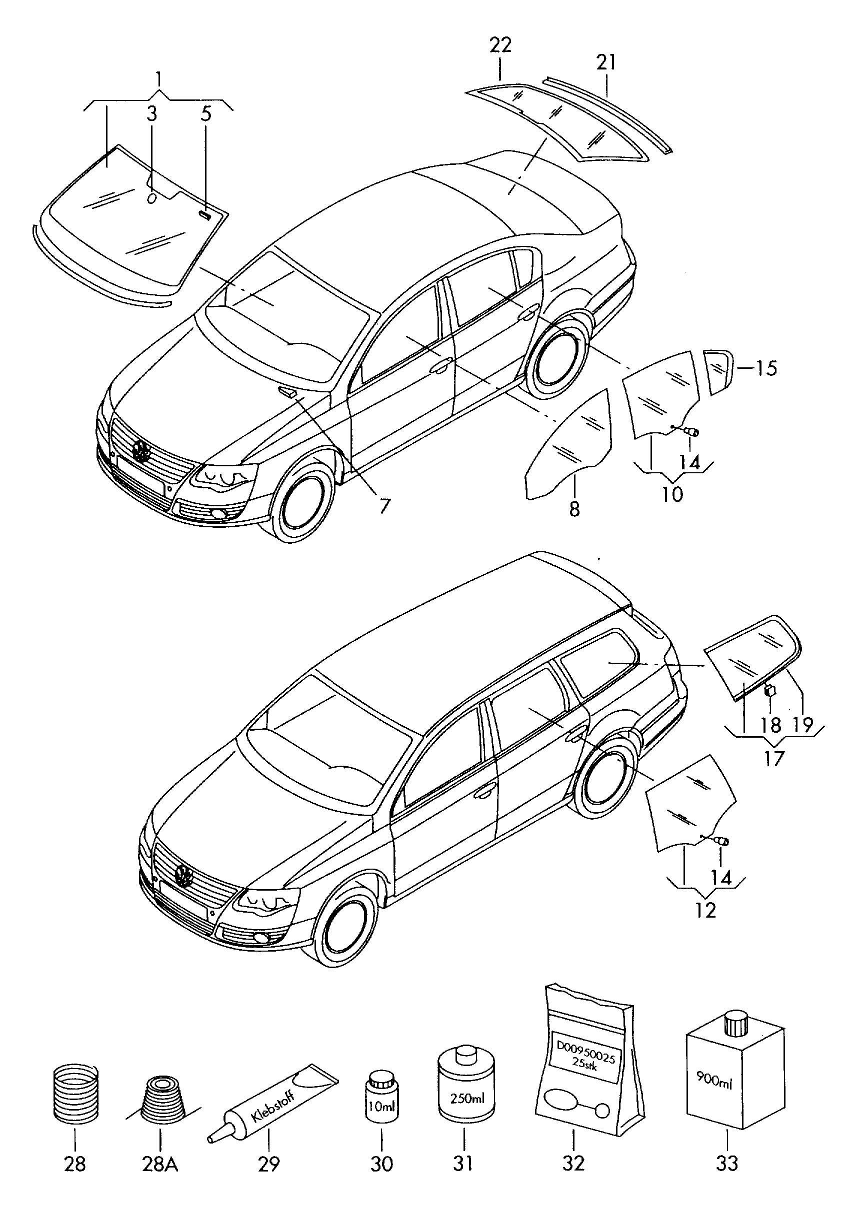 Volkswagen Passat Windshield glass (laminated) for