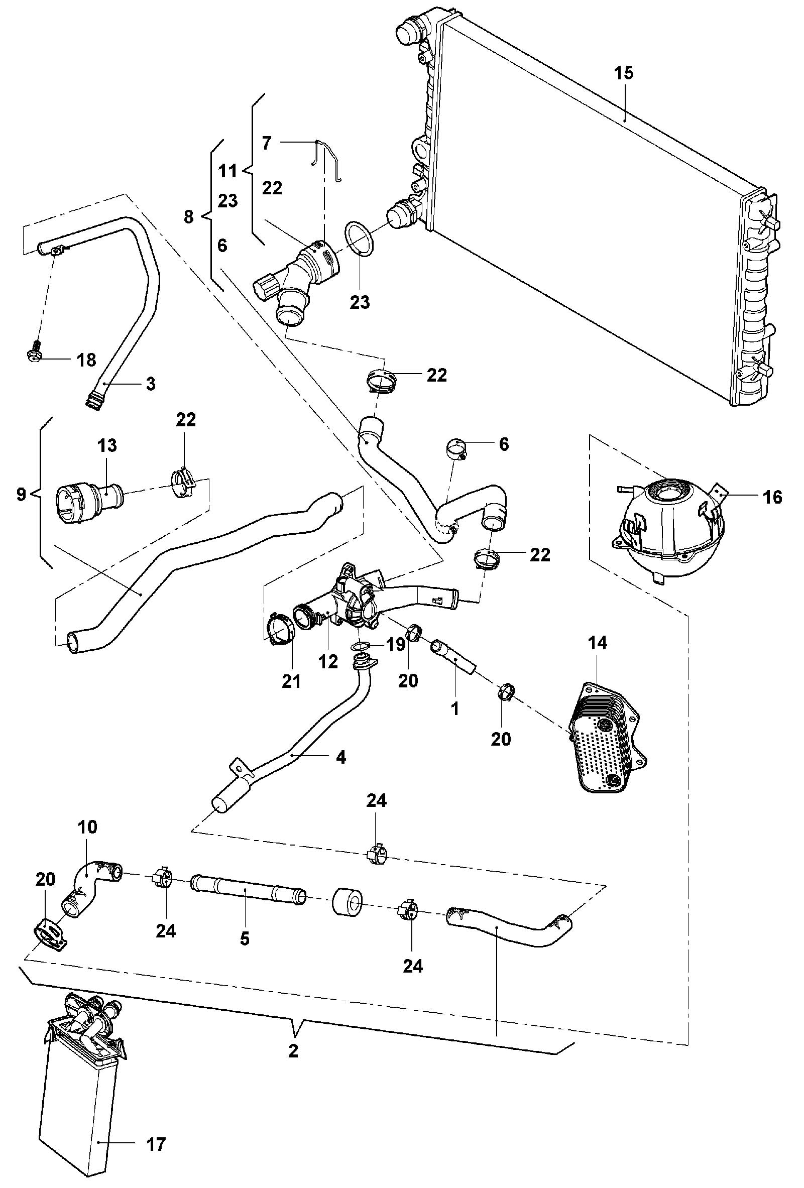 Volkswagen New Beetle Coolant hose (expansion tank > water