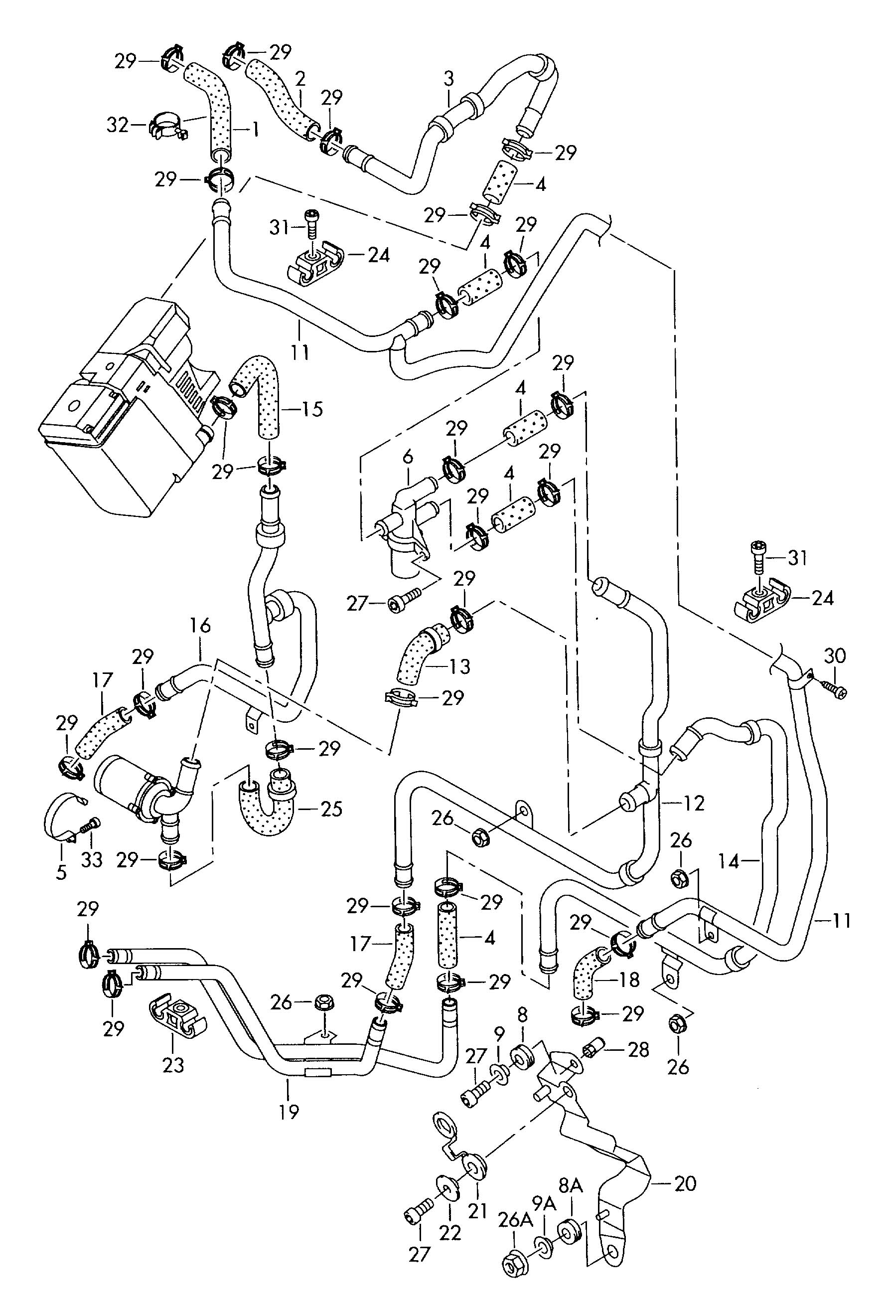Volkswagen Touareg Heater coolant hoses and pipes