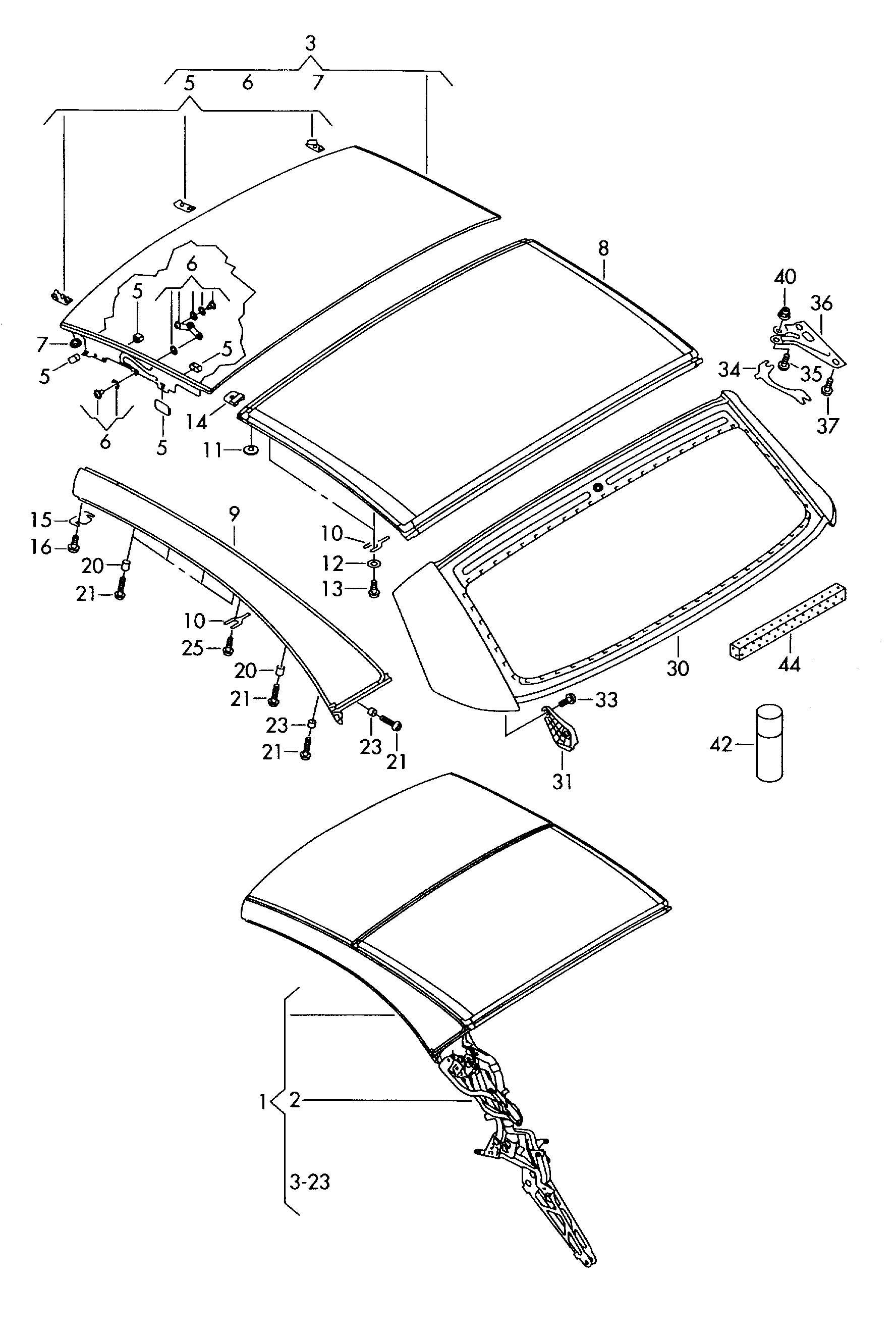 Volkswagen Eos Glass Panel Cover Panel Retractable
